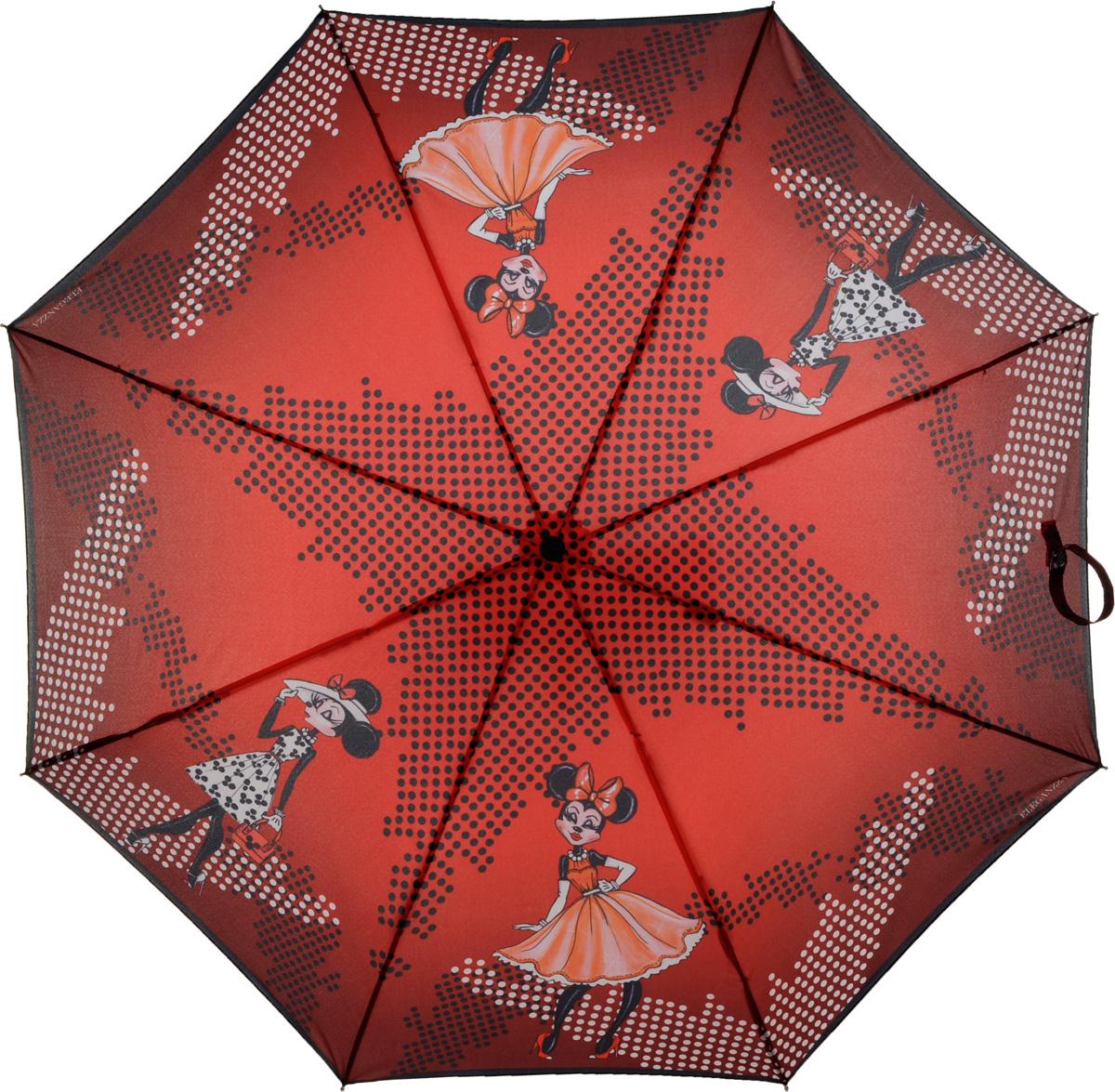 Зонт женский Eleganzza, автомат, 3 сложения, цвет: красный. A3-05-0283SA3-05-0283SЖенский зонт-автомат торговой марки ELEGANZZA с каркасом Smart, который позволяет без особых усилий складывать зонт, не позволяя стержню вылетать обратно. Купол: 100% полиэстер, эпонж. Материал каркаса: сталь + алюминий + фибергласс. Материал ручки: пластик. Длина изделия - 30 см. Диаметр купола - 100 см. Система Smart, не позволяет стержню при сложении вылететь обратно, это облегчает сложение зонта! При сложении есть характерный звук-треск, как трещетка. Примечание: зонт не откроется с кнопки если его не закрыть до щелчка!
