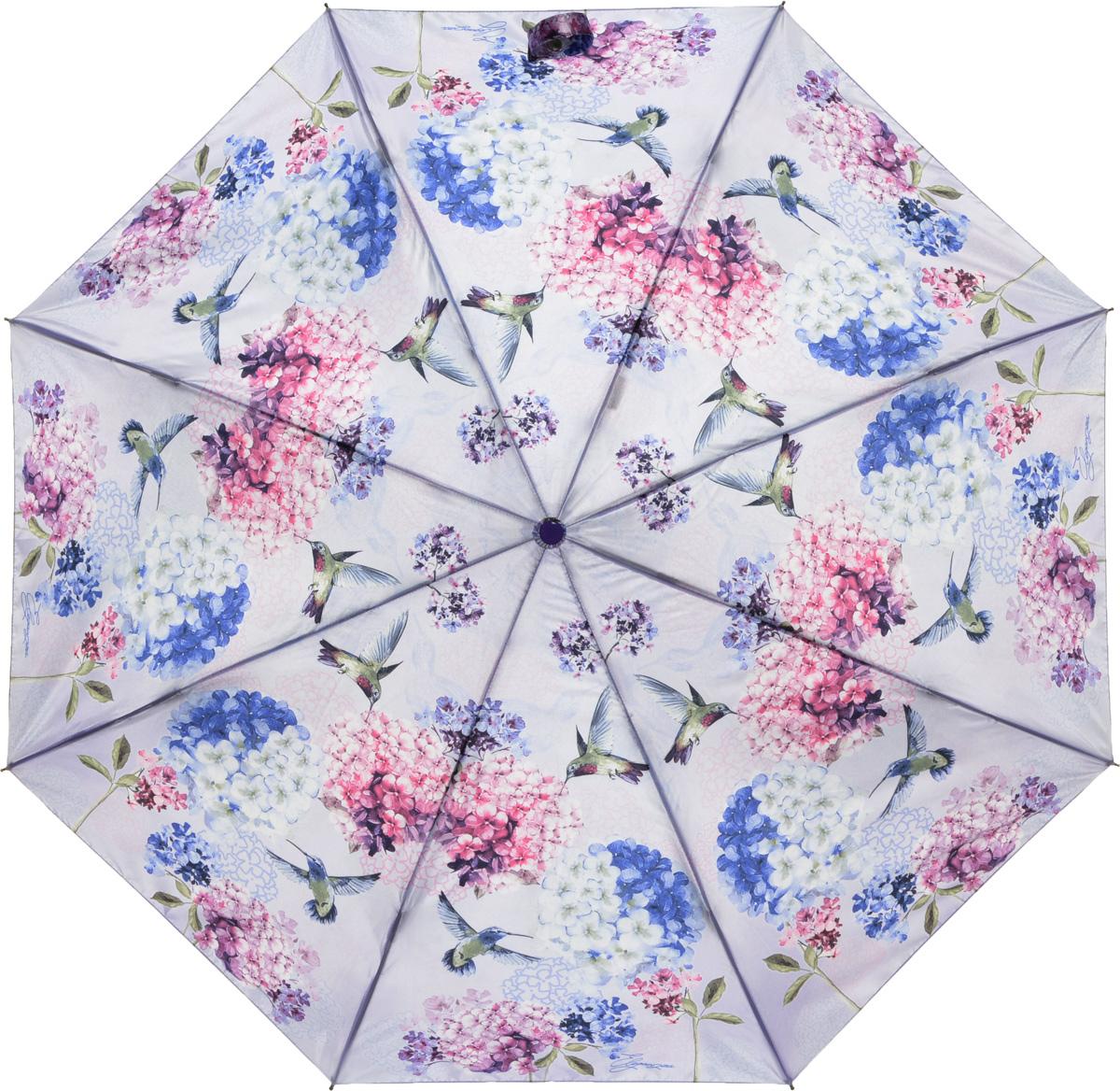 Зонт женский Eleganzza, автомат, 3 сложения, цвет: лиловый. A3-05-0255LA3-05-0255LЖенский зонт-автомат ELEGANZZA. Материал купола 100% полиэстер, сатин. Материал каркаса: сталь + фибергласс. Материал ручки: пластик. Длина изделия - 30 см, диаметр купола - 105 см.