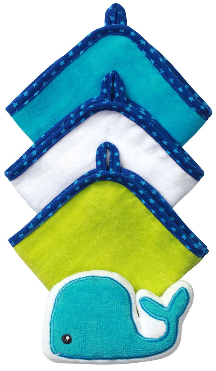 BabyOno Набор для купания Кит Губка 3 салфетки цвет синий143 whale
