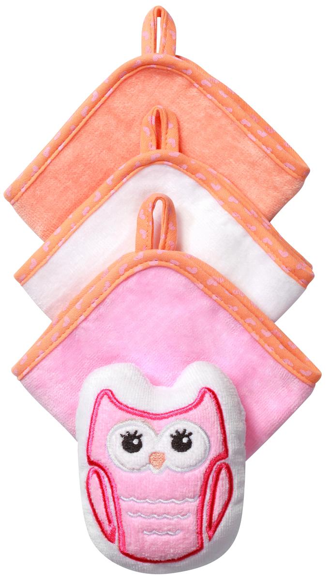 BabyOno Набор для купания Сова Губка 3 салфетки цвет розовый143 owl