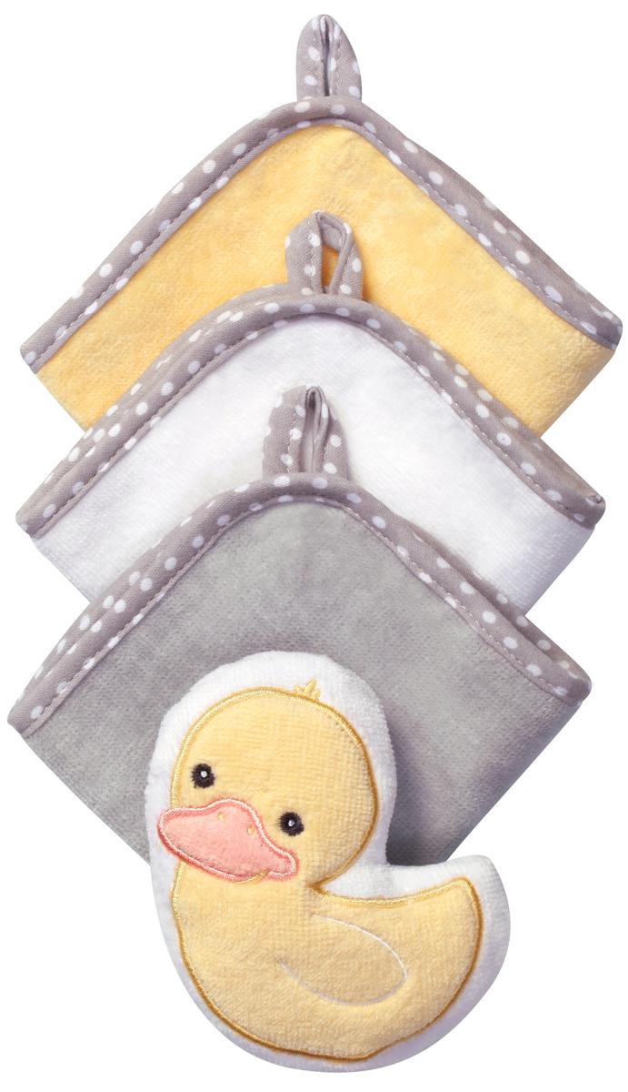 BabyOno Набор для купания Утка Губка 3 салфетки цвет желтый143 duck