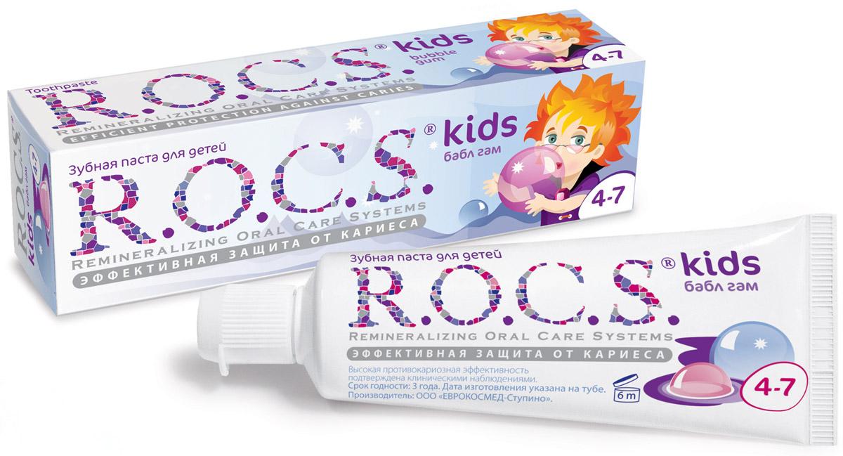 R.O.C.S. Зубная паста Бабл гам от 4 до 7 лет 45 г03-01-021Эффективная зубная паста R.O.C.S. Kids Бабл гам со вкусом жевательной резинки для детей от 4 до 7 лет разработана при участии стоматологов с учетом возрастных особенностей ребенка. Содержит комплекс AMIFLUOR, содержащий аминофторид Olafluor 500 ppm и высокую концентрацию ксилита, благодаря чему обеспечивается устойчивость зубов к растворяющему действию кислот*, надежная защита десен от воспаления, защита зубов от кариесогенных бактерий и нормализация микробного состава полости рта. Низкоабразивная формула не травмирует ткани зубов (RDA=45). Не содержит лаурилсульфата натрия. По эффективности не уступает зубным пастам с антисептиком и пастам с концентрацией фторида 1000 ppm. Паста протестирована в двухлетней школьной программе профилактики кариеса. Для чистки зубов рекомендуется использовать небольшое количество пасты размером с горошину. Дети дошкольного возраста должны чистить зубы под контролем взрослых. Аминофторид является наиболее эффективным источником фтора,...