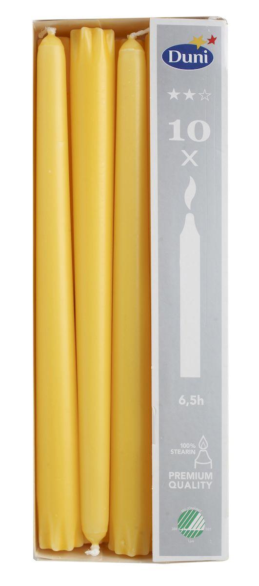 Набор свечей Duni, цвет: желтый, высота 24 см, 10 шт151068Набор Duni, состоящий из 10 свечей конической формы, выполнен из 100% стеарина. Duni - создатели атмосферы вдохновения, сюрпризов и праздников для вас и ваших детей! Используя современные инновации, высококачественные материалы, оригинальный дизайн, свечи делают вашу трапезу незабываемым и волшебным праздником. Такой набор украсит интерьер вашего дома или офиса и наполнит его атмосферу теплом и уютом. Высота свечи (без учета фитиля): 24 см. Диаметр основания свечи: 2,2 см. Время горения: 6,5 часов.
