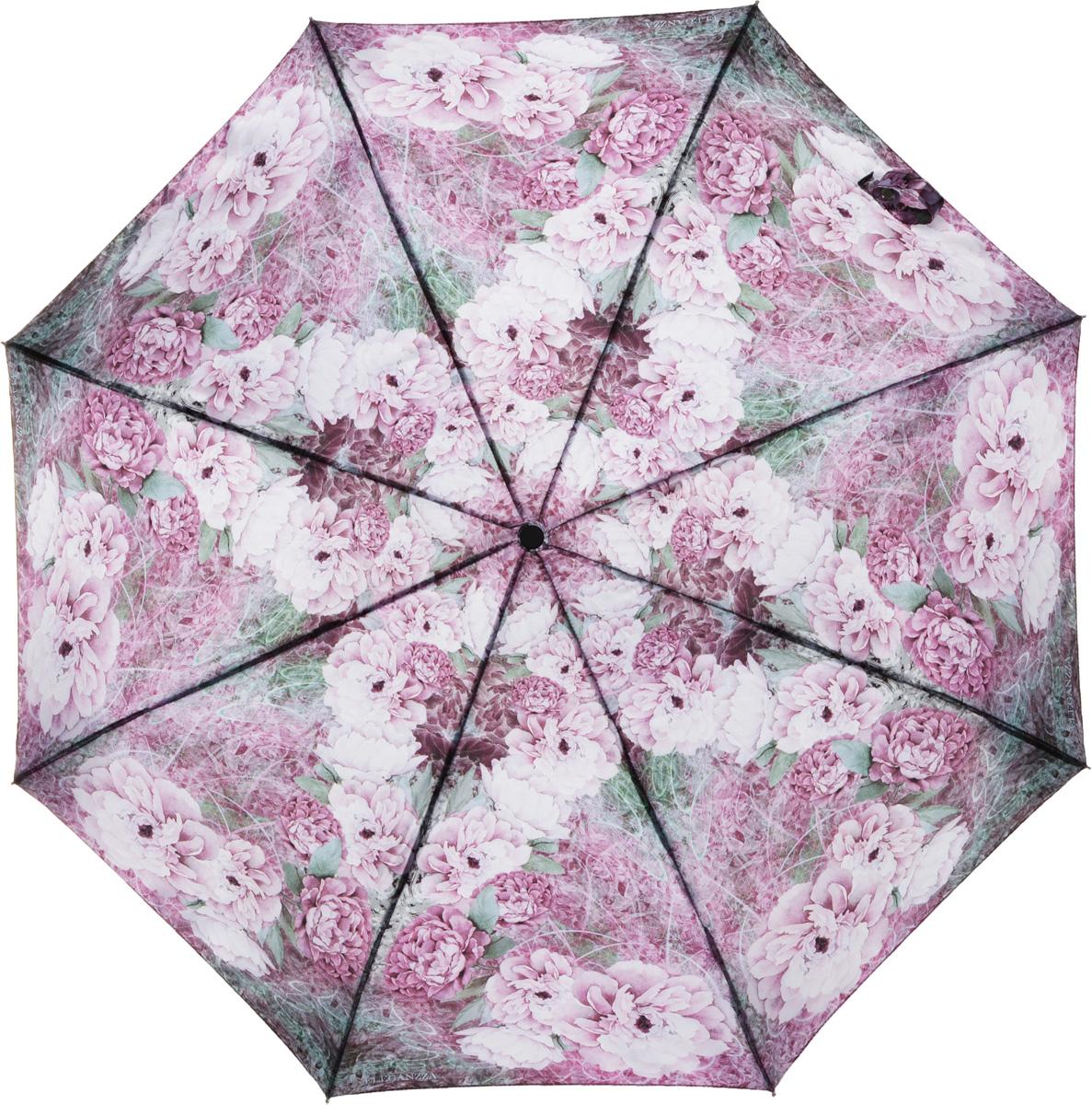 Зонт женский Eleganzza, автомат, 3 сложения, цвет: розовый. A3-05-0291LSA3-05-0291LSЖенский зонт-автомат торговой марки ELEGANZZA с каркасом Smart, который позволяет без особых усилий складывать зонт, не позволяя стержню вылетать обратно. Купол: 100% полиэстер, сатин. Материал каркаса: сталь + алюминий + фибергласс. Материал ручки: пластик. Длина изделия - 30 см. Диаметр купола - 105 см. Система Smart, не позволяет стержню при сложении вылететь обратно, это облегчает сложение зонта! При сложении есть характерный звук-треск, как трещетка. Примечание: зонт не откроется с кнопки если его не закрыть до щелчка!
