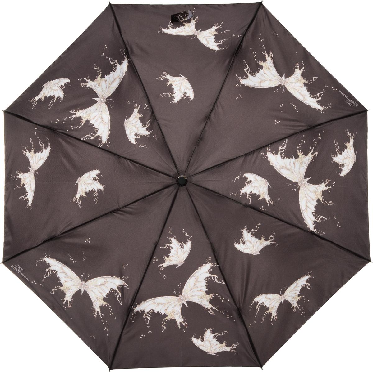 Зонт женский Eleganzza, автомат, 3 сложения, цвет: коричневый. A3-05-0253LA3-05-0253LЖенский зонт-автомат ELEGANZZA. Материал купола 100% полиэстер, сатин. Материал каркаса: сталь + фибергласс. Материал ручки: пластик. Длина изделия - 30 см, диаметр купола - 105 см.