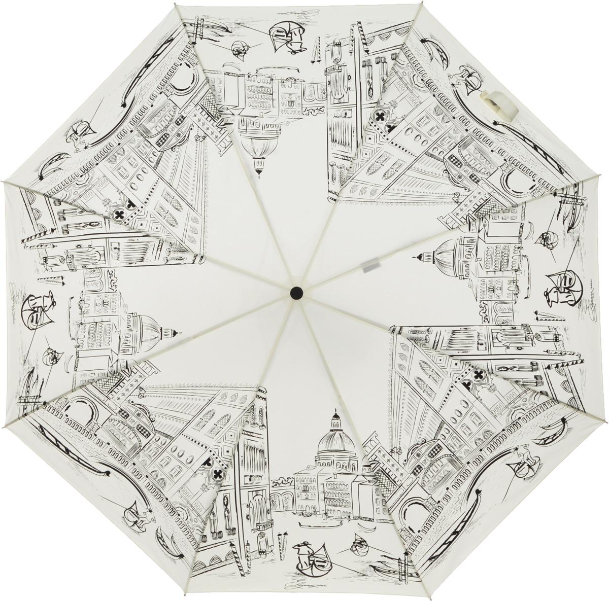 Зонт женский Eleganzza, автомат, 3 сложения, цвет: белый. A3-05-0200LA3-05-0200LЖенский зонт-автомат торговой марки ELEGANZZA с каркасом Smart. Купол: 100% полиэстер. Каркас: стержень - сталь, спицы - алюминий + фибергласс. Увеличенный диаметр купола - 105 см. Система Smart, не позволяет стержню при сложении вылететь обратно, это облегчает сложение зонта! При сложении есть характерный звук-треск, как трещетка. Примечание: зонт не откроется с кнопки если его не закрыть до щелчка!