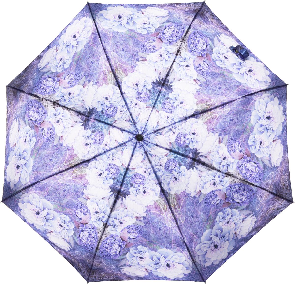 Зонт женский Eleganzza, автомат, 3 сложения, цвет: лиловый. A3-05-0291LSA3-05-0291LSЖенский зонт-автомат торговой марки ELEGANZZA с каркасом Smart, который позволяет без особых усилий складывать зонт, не позволяя стержню вылетать обратно. Купол: 100% полиэстер, сатин. Материал каркаса: сталь + алюминий + фибергласс. Материал ручки: пластик. Длина изделия - 30 см. Диаметр купола - 105 см. Система Smart, не позволяет стержню при сложении вылететь обратно, это облегчает сложение зонта! При сложении есть характерный звук-треск, как трещетка. Примечание: зонт не откроется с кнопки если его не закрыть до щелчка!