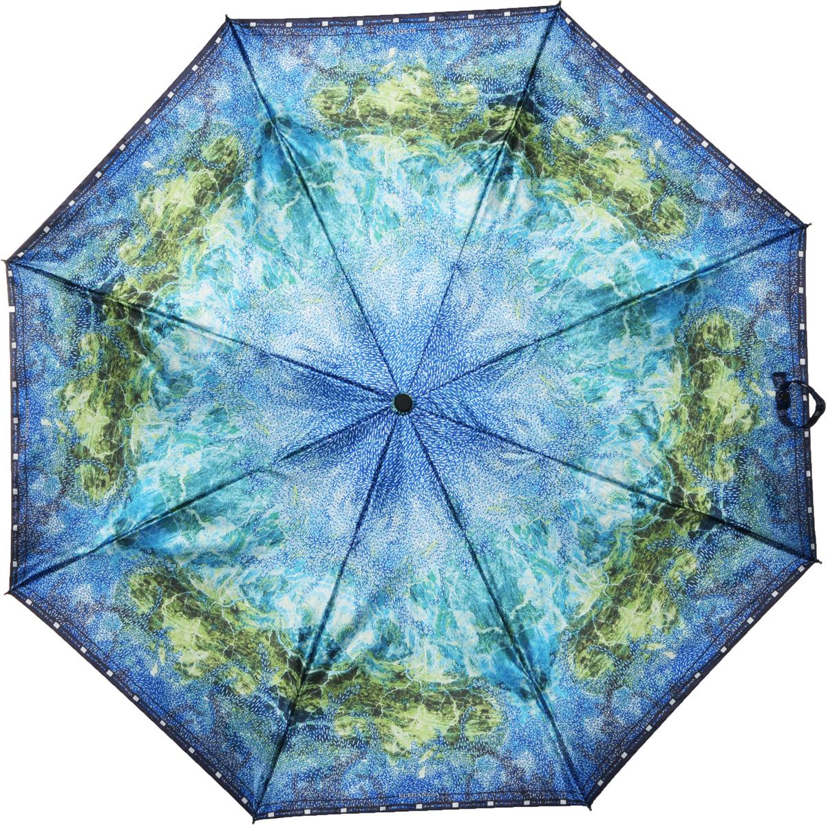 Зонт женский Eleganzza, автомат, 3 сложения, цвет: голубой. A3-05-0251LA3-05-0251LЖенский зонт-автомат ELEGANZZA. Материал купола 100% полиэстер, сатин. Материал каркаса: сталь + фибергласс. Материал ручки: пластик. Длина изделия - 30 см, диаметр купола - 105 см.