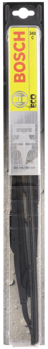 Щетка стеклоочистителя Bosch 340C, каркасная, длина 34 см, 2 шт3397005025Универсальная щетка Bosch 340C - функциональный стеклоочиститель с металлическими скобами, который характеризуется хорошей эффективностью очистки и качеством. Каркас щетки выполнен из металла с антикоррозийным покрытием и имеет форму, способствующую уменьшению подъемной силы на высоких скоростях. Натуральная резина щетки обеспечивает тщательность очистки. Щетка имеет крепление крючок. Быстрый монтаж, благодаря предварительно установленному универсальному адаптеру Quick Clip. В комплекте 2 щетки.