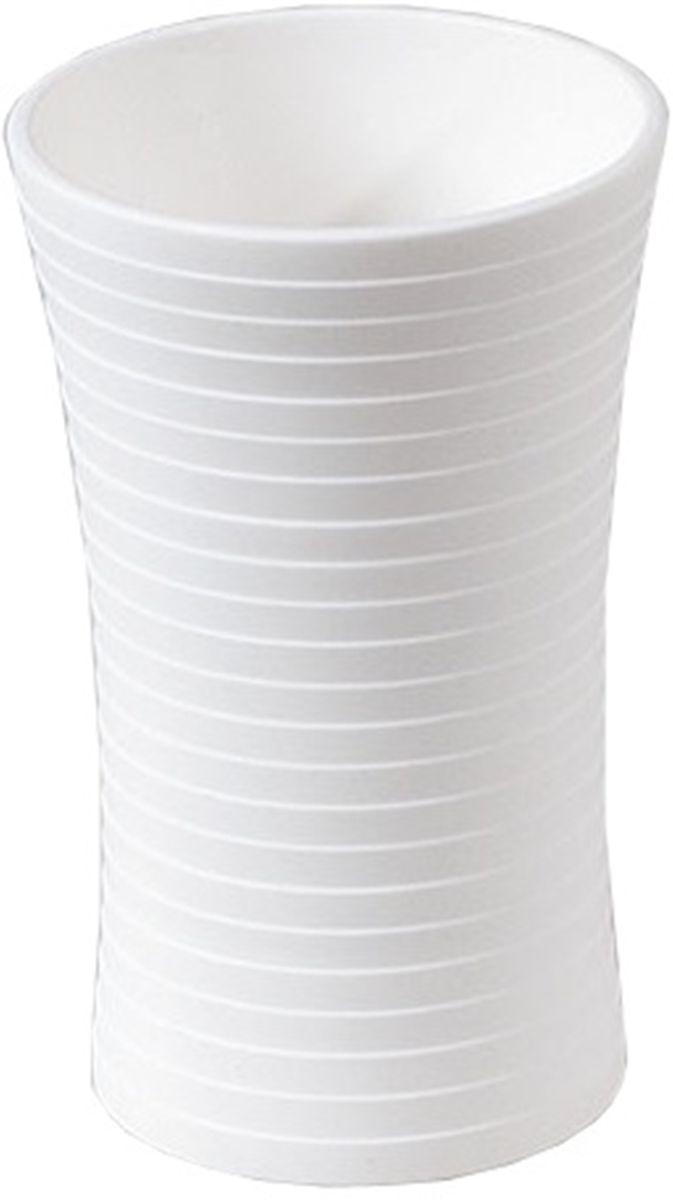 Стакан для ванной Vanstore Style, цвет: белый313-01Style набор аксессуаров из пластика белого цвета