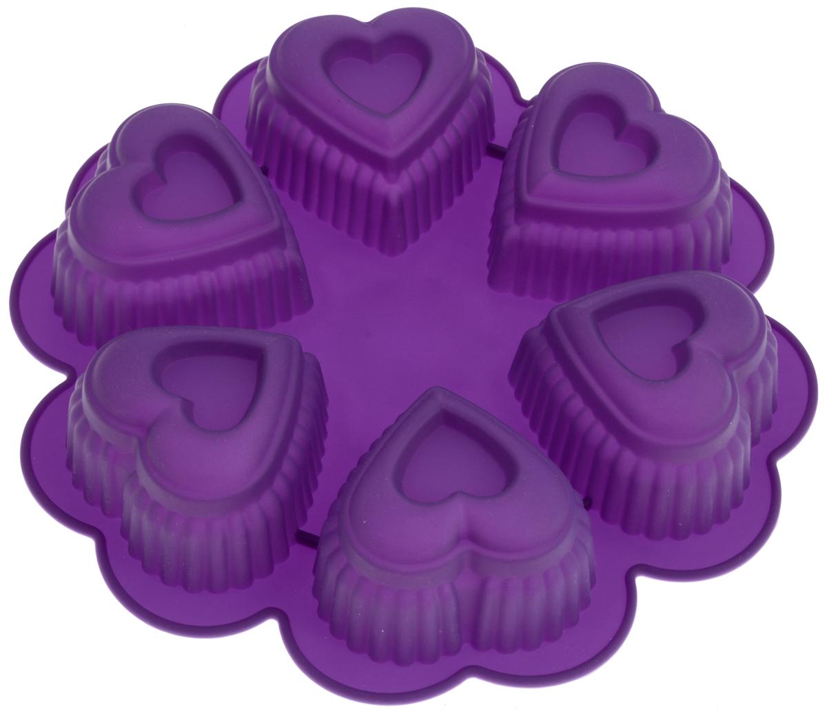 Форма для выпечки Marmiton Сердце, цвет: фиолетовый, 25,5 х 25,5 х 5 см, 6 ячеек16027Форма для выпечки Marmiton Сердце выполнена из силикона. На одном листе расположены 6 ячеек в виде сердец. Благодаря тому, что форма изготовлена из силикона, готовый лед, выпечку или мармелад вынимать легко и просто. Материал устойчив к фруктовым кислотам, может быть использован в духовках и микроволновых печах (выдерживает температуру от -40°С до +230°С). Можно мыть и сушить в посудомоечной машине. Общий размер формы: 25,5 х 25,5 х 5 см. Размер ячейки: 8 х 8 х 5 см.