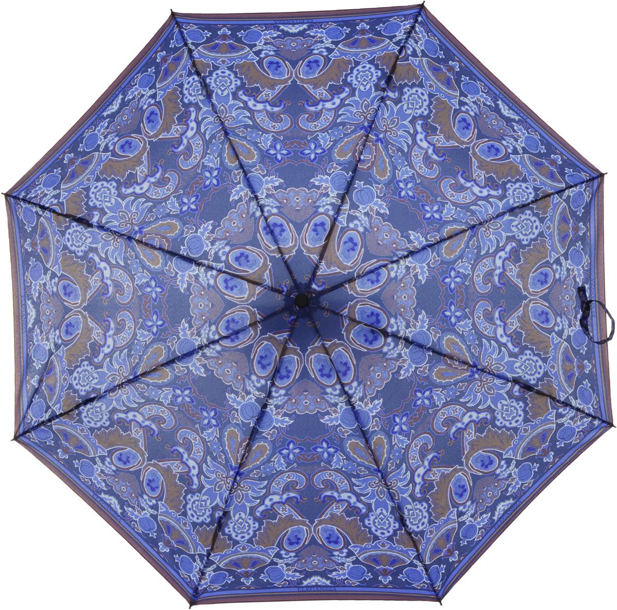 Зонт женский Eleganzza, автомат, 3 сложения, цвет: синий. A3-05-0267A3-05-0267Женский зонт-автомат. Материал купола 100% полиэстер, эпонж. Материал каркаса: сталь + фибергласс. Материал ручки: пластик. Длина изделия - 28 см, диаметр купола - 98 см.