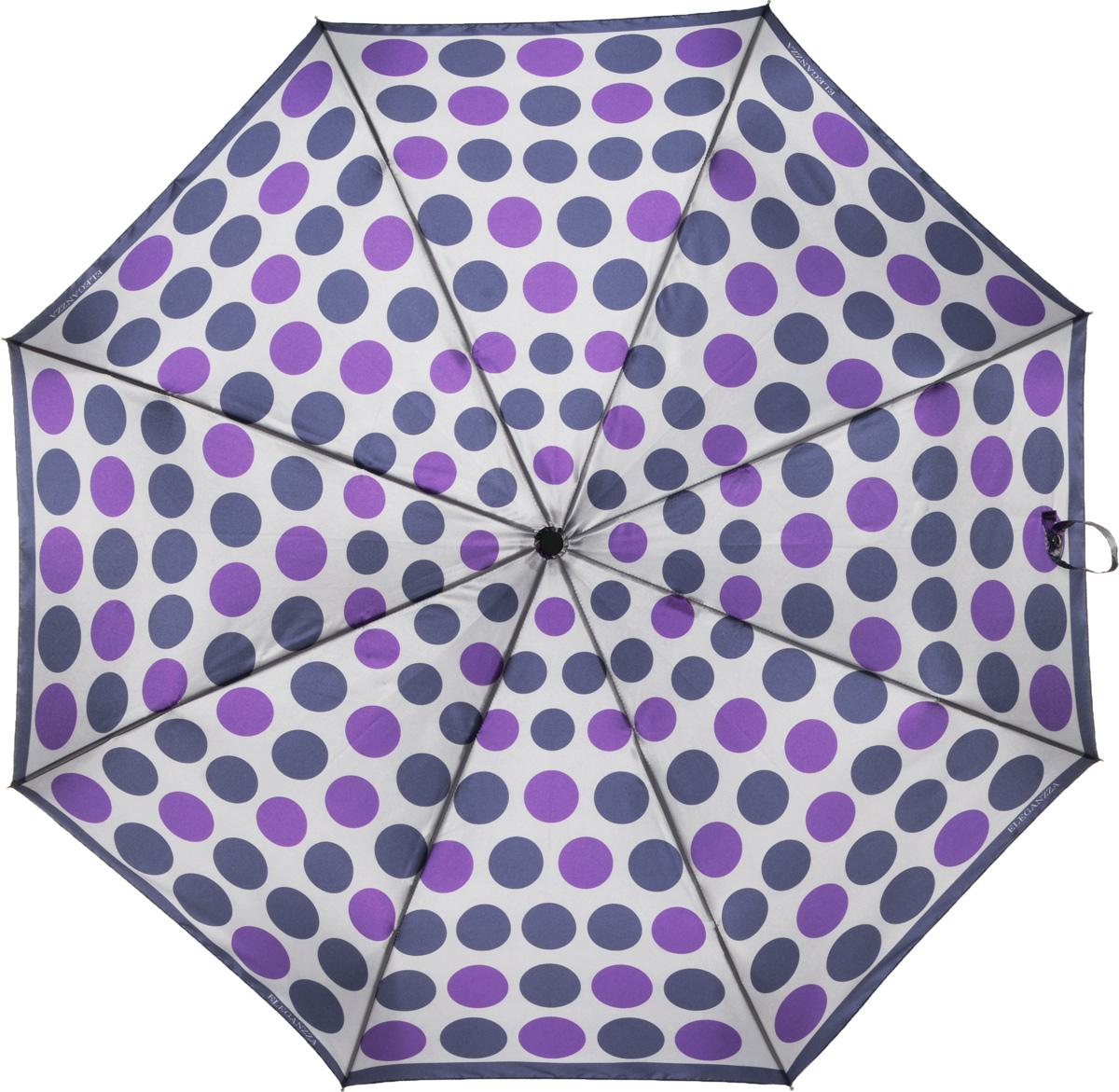 Зонт женский Eleganzza, автомат, 3 сложения, цвет: фиолетовый. A3-05-0277LSA3-05-0277LSЖенский зонт-автомат торговой марки ELEGANZZA с каркасом Smart, который позволяет без особых усилий складывать зонт, не позволяя стержню вылетать обратно. Купол: 100% полиэстер, сатин. Материал каркаса: сталь + алюминий + фибергласс. Материал ручки: пластик. Длина изделия - 30 см. Диаметр купола - 105 см. Система Smart, не позволяет стержню при сложении вылететь обратно, это облегчает сложение зонта! При сложении есть характерный звук-треск, как трещетка. Примечание: зонт не откроется с кнопки если его не закрыть до щелчка!