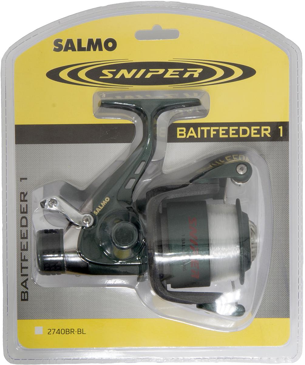 Катушка безынерционная Salmo Sniper BAITFEEDER 1 40BR, цвет: серый2740BR-BLСпециализированная катушка, предназначенная для ловли рыбы на донные оснастки. Мощная среднескоростная катушка обеспечивает эффективное вываживание любой попавшейся на крючок рыбы. Система BAITFEEDER, используемая в данной модели катушки, обеспечивает необходимую величину настройки стравливания лески при поклевке рыбы любого размера. - Тормоз фрикционный передний FD - 1 подшипник шариковый - Система стравливания лески с включателем рамочным - Корпус карбопластовый - Шпуля пластиковая (графитовая) - Ролик лесоукладывателя конусный увеличенный (противозакручиватель) - Покрытие износостойкое нитридом титана: - ролика лесоукладывателя - Рукоятка: - с винтовым типом фиксации - с возможностью право/левосторонней установки - Блистерная упаковка