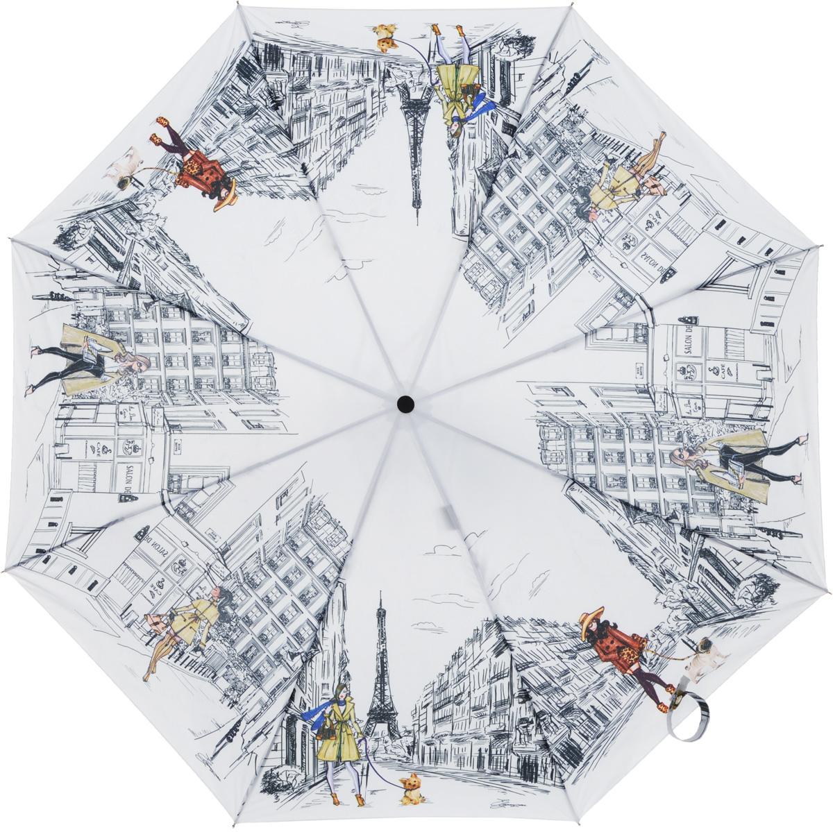 Зонт женский Eleganzza, автомат, 3 сложения, цвет: белый. A3-05-0268LSA3-05-0268LSЖенский зонт-автомат торговой марки ELEGANZZA с каркасом Smart, который позволяет без особых усилий складывать зонт, не позволяя стержню вылетать обратно. Купол: 100% полиэстер, эпонж. Материал каркаса: сталь + алюминий + фибергласс. Материал ручки: пластик. Длина изделия - 30 см. Диаметр купола - 105 см. Система Smart, не позволяет стержню при сложении вылететь обратно, это облегчает сложение зонта! При сложении есть характерный звук-треск, как трещетка. Примечание: зонт не откроется с кнопки если его не закрыть до щелчка!