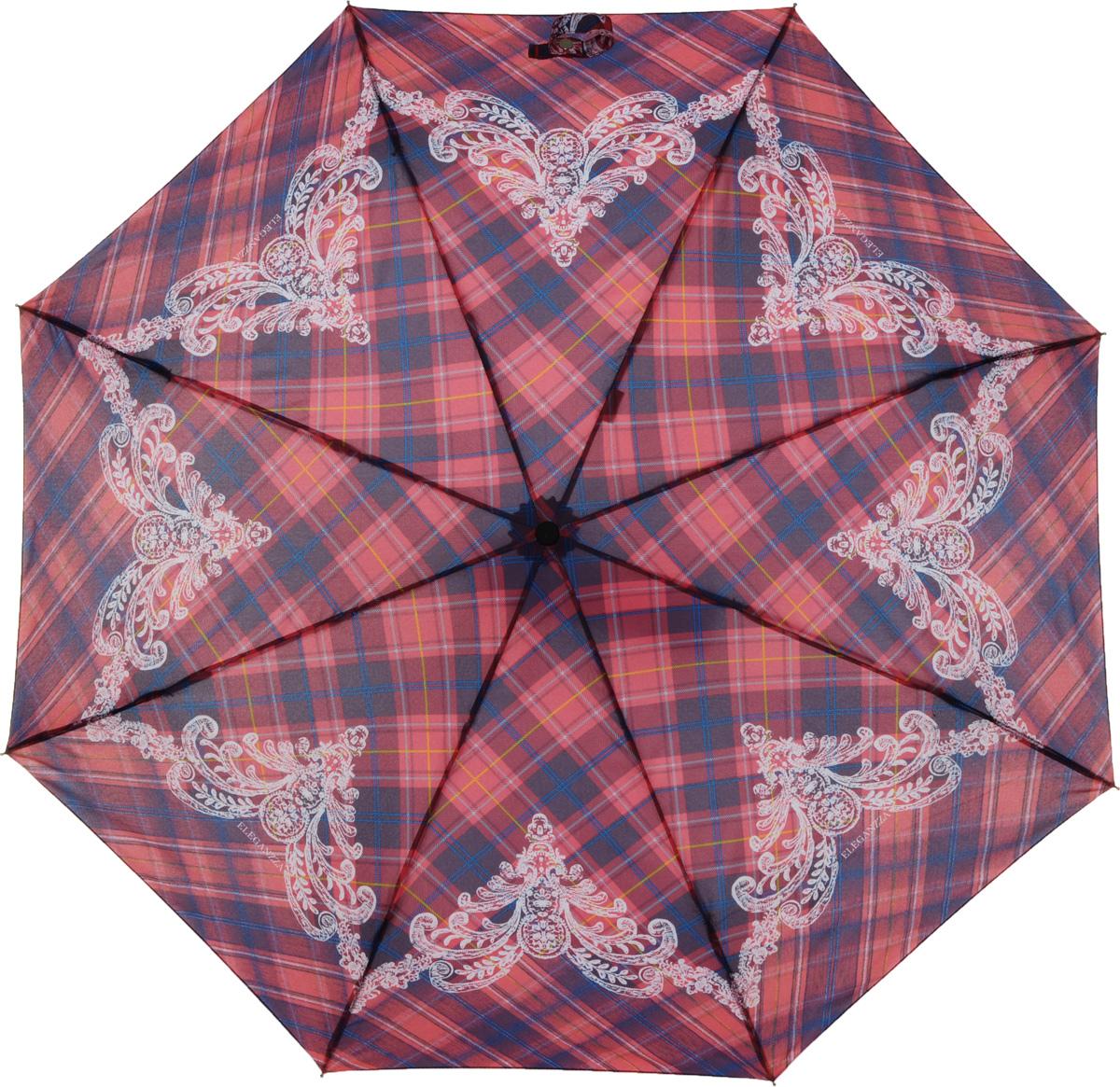 Зонт женский Eleganzza, автомат, 3 сложения, цвет: красный. A3-05-0279LSA3-05-0279LSЖенский зонт-автомат торговой марки ELEGANZZA с каркасом Smart, который позволяет без особых усилий складывать зонт, не позволяя стержню вылетать обратно. Купол: 100% полиэстер, эпонж. Материал каркаса: сталь + алюминий + фибергласс. Материал ручки: пластик. Длина изделия - 30 см. Диаметр купола - 105 см. Система Smart, не позволяет стержню при сложении вылететь обратно, это облегчает сложение зонта! При сложении есть характерный звук-треск, как трещетка. Примечание: зонт не откроется с кнопки если его не закрыть до щелчка!