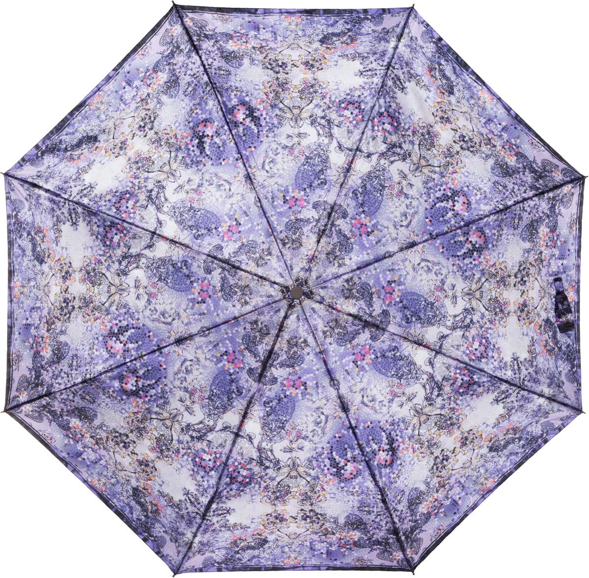 Зонт женский Eleganzza, автомат, 3 сложения, цвет: лиловый. A3-05-0275LA3-05-0275LЖенский зонт-автомат. Материал купола 100% полиэстер, сатин. Материал каркаса: сталь + фибергласс. Материал ручки: пластик. Длина изделия - 30 см, диаметр купола - 105 см.