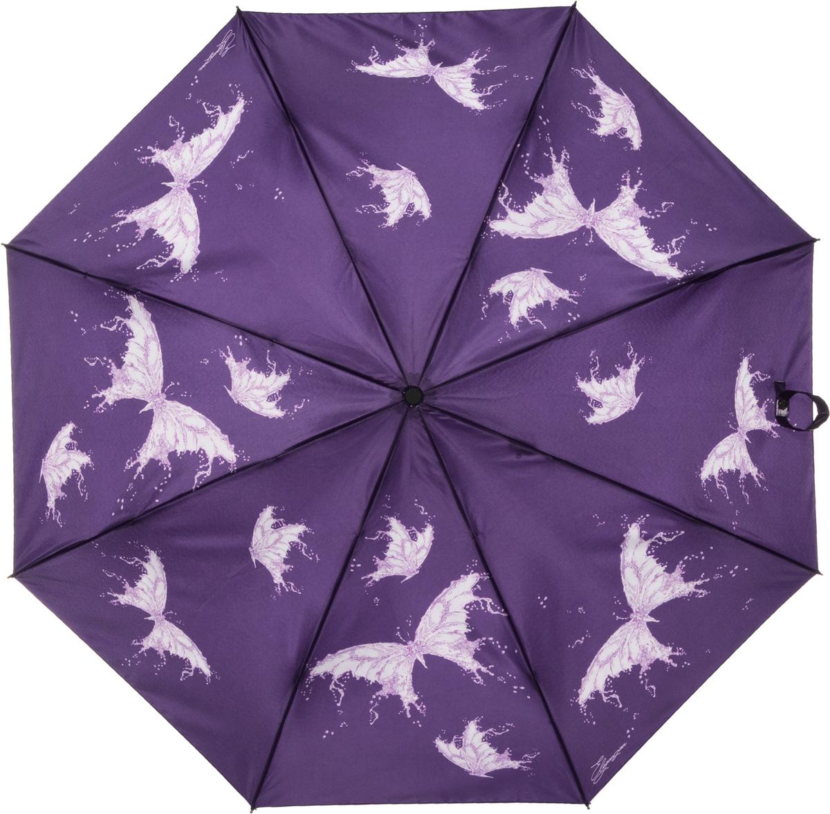 Зонт женский Eleganzza, автомат, 3 сложения, цвет: фиолетовый. A3-05-0253LA3-05-0253LЖенский зонт-автомат ELEGANZZA. Материал купола 100% полиэстер, сатин. Материал каркаса: сталь + фибергласс. Материал ручки: пластик. Длина изделия - 30 см, диаметр купола - 105 см.