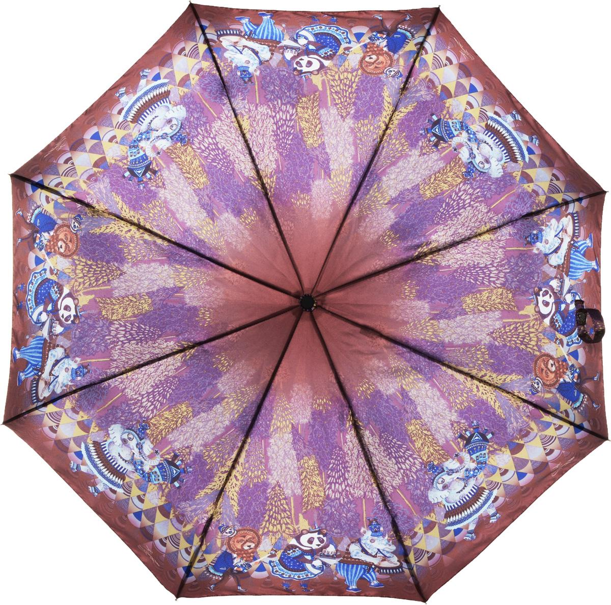 Зонт женский Eleganzza, автомат, 3 сложения, цвет: коричневый. A3-05-0280LSA3-05-0280LSЖенский зонт-автомат торговой марки ELEGANZZA с каркасом Smart, который позволяет без особых усилий складывать зонт, не позволяя стержню вылетать обратно. Купол: 100% полиэстер, сатин. Материал каркаса: сталь + алюминий + фибергласс. Материал ручки: пластик. Длина изделия - 30 см. Диаметр купола - 105 см. Система Smart, не позволяет стержню при сложении вылететь обратно, это облегчает сложение зонта! При сложении есть характерный звук-треск, как трещетка. Примечание: зонт не откроется с кнопки если его не закрыть до щелчка!