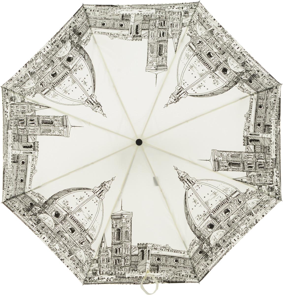 Зонт женский Eleganzza, автомат, 3 сложения, цвет: белый. A3-05-0248A3-05-0248Женский зонт-автомат торговой марки ELEGANZZA. Облегченная модель, вес 315 гр. Купол: 100% полиэстер. Каркас: стержень-сталь, спицы-аллюминий + фибергласс. Диаметр купола - 98 см.