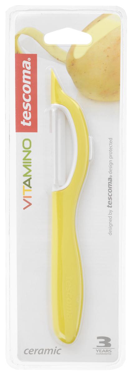 Овощечистка Tescoma Vitamino, с продольным керамическим лезвием, цвет: желтый, длина 19 см642710_желтыйОвощечистка с продольным лезвием Tescoma Vitamino изготовлена из прочного пластика, лезвие - из высококачественной керамики. Отлично подходит для быстрой и легкой очистки моркови и других овощей. Также можно использовать для нарезки тонкими ломтиками моркови, сельдерея, редиса. Можно мыть в посудомоечной машине.