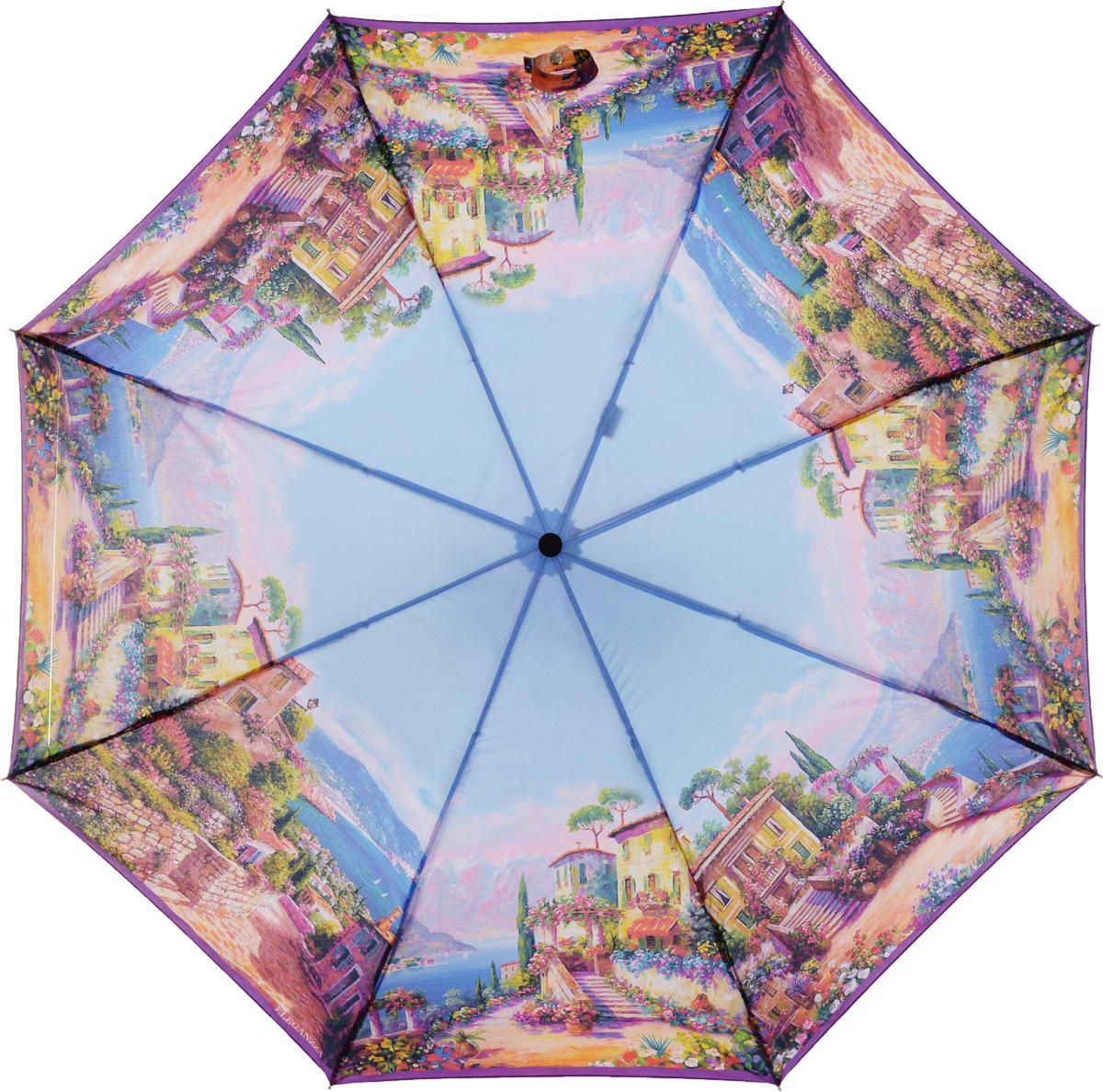 Зонт женский Eleganzza, автомат, 3 сложения, цвет: синий. A3-05-0285LSA3-05-0285LSЖенский зонт-автомат торговой марки ELEGANZZA с каркасом Smart, который позволяет без особых усилий складывать зонт, не позволяя стержню вылетать обратно. Купол: 100% полиэстер, эпонж. Материал каркаса: сталь + алюминий + фибергласс. Материал ручки: пластик. Длина изделия - 30 см. Диаметр купола - 105 см. Система Smart, не позволяет стержню при сложении вылететь обратно, это облегчает сложение зонта! При сложении есть характерный звук-треск, как трещетка. Примечание: зонт не откроется с кнопки если его не закрыть до щелчка!