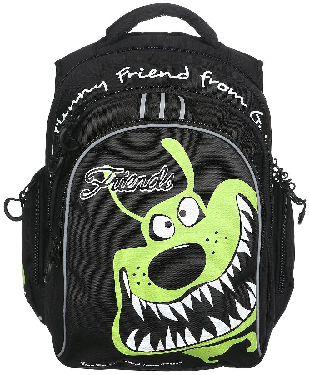 Grizzly Рюкзак детский цвет черный салатовыйRB-629-1/3Детский рюкзак Grizzly - это красивый и удобный рюкзак, который подойдет всем, кто хочет разнообразить свои школьные будни. Рюкзак выполнен из плотного материала и оформлен оригинальным изображением. Рюкзак имеет два основных отделения на застежках-молниях с двумя бегунками. Большое отделение содержит накладной карман на молнии. Второе отделение имеет внутри открытый накладной кармашек и четыре отделения для канцелярских принадлежностей. На лицевой стороне рюкзака расположен накладной карман на молнии. Бегунки дополнены удобными держателями с логотипом Grizzly. По бокам рюкзак дополнен накладными карманами на застежках-молниях. Рюкзак также оснащен удобной ручкой для переноски и светоотражающими элементами. Широкие регулируемые лямки и сетчатые мягкие вставки на спинке рюкзака предохранят мышцы спины ребенка от перенапряжения при длительном ношении. Многофункциональный школьный рюкзак станет незаменимым спутником вашего ребенка в походах...