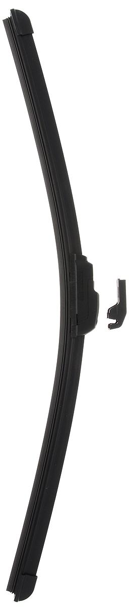 Щетка стеклоочистителя Wonderful, бескаркасная, с тефлоном, с 2 адаптерами, длина 50 см, 1 шт901893Бескаркасная универсальная щетка Wonderful, выполненная по современной технологии из высококачественных материалов, предназначена для установки на переднее стекло автомобиля. Направляющая шина, расположенная внутри чистящего полотна, равномерно распределяет прижимное усилие по всей длине, точно повторяя рельеф щетки, что обеспечивает наиболее полное очищение стекла за один проход. Отличается высоким качеством исполнения и оптимально подходит для замены оригинальных щеток, установленных на конвейере. Обеспечивает качественную очистку стекла в любую погоду. Изделие оснащено 2 адаптерами, которые превосходно подходят для наиболее распространенных типов креплений. Простой и быстрый монтаж.