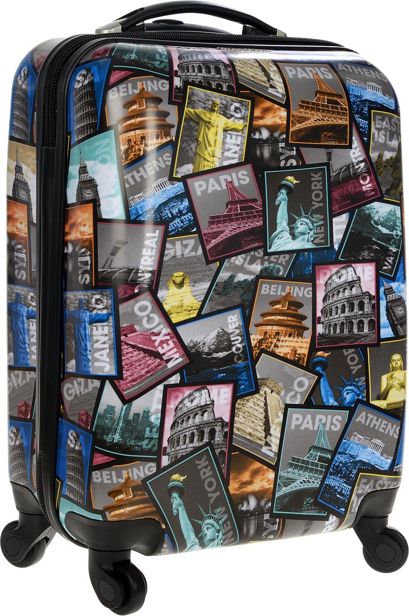 Чемодан пластиковый Everluck Коллаж в цвете, 55 лLQ151003 58 cmЧемодан Everluck Коллаж в цвете, выполненный из прочного пластика, прекрасно подойдет для путешествий. Изделие имеет жесткую форму. Материал внутренней отделки - прочный полиэстер. Чемодан очень вместителен, он содержит продуманную внутреннюю организацию, которая позволяет удобно разложить вещи и избежать их сминания. Имеется одно большое отделение, закрывающееся по периметру на застежку-молнию с двумя бегунками. Большое отделение для хранения одежды оснащено перекрещивающимися багажными ремнями, которые соединяются при помощи пластикового карабина. Также внутри имеется 2 кармана на молнии и одно дополнительное небольшое отделение на молнии. Для удобной перевозки чемодан оснащен четырьмя маневренными колесами, которые обеспечивают легкость перемещения в любом направлении. Телескопическая ручка выдвигается нажатием на кнопку и фиксируется в двух положениях. Сверху предусмотрена ручка для поднятия чемодана. Чемодан оснащен кодовым...