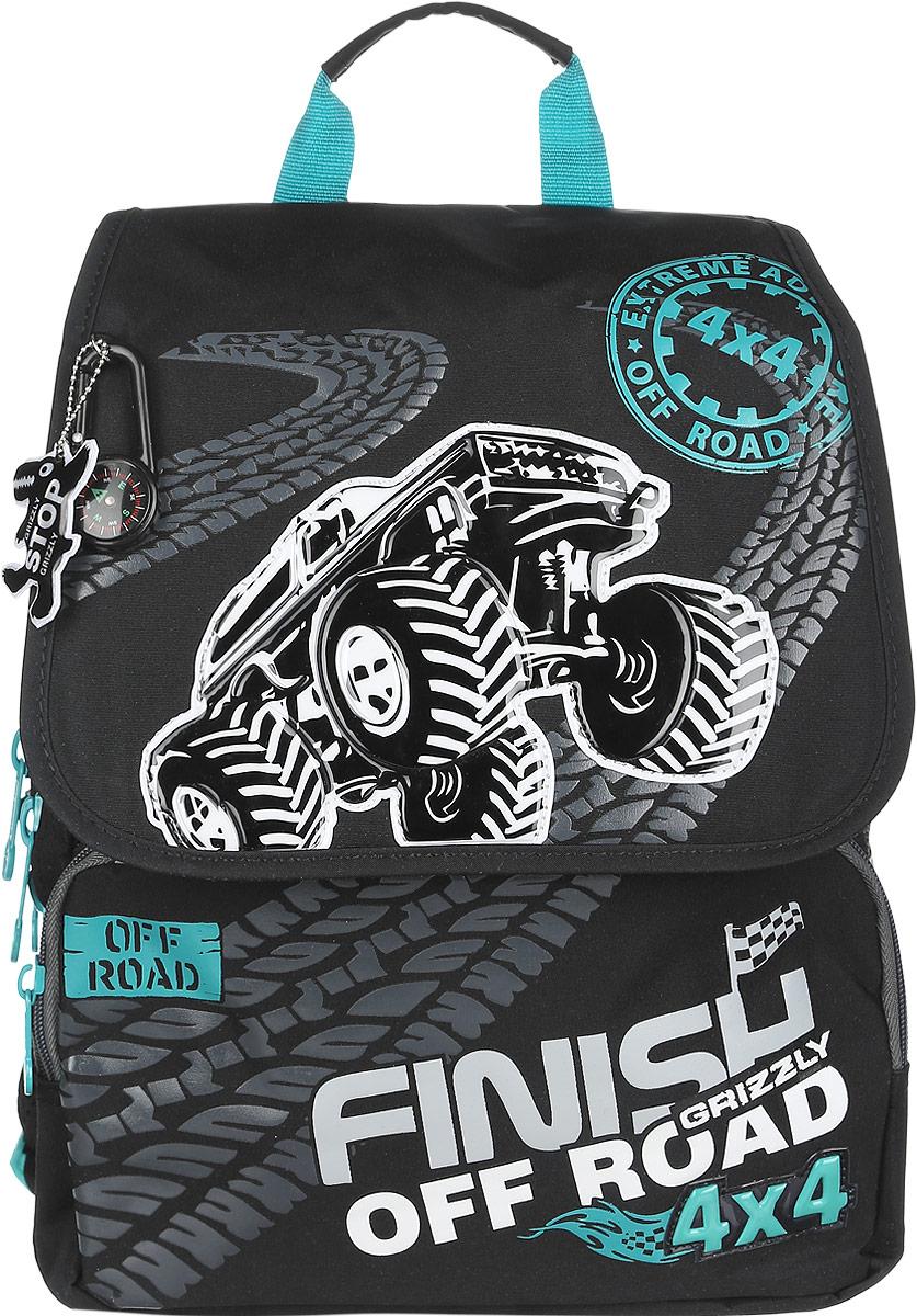 Grizzly Рюкзак детский Finish off RoadRA-544-3/3Детский рюкзак Grizzly Finish off Road - это стильный и удобный рюкзак, который подойдет всем, кто хочет разнообразить свои школьные будни. Рюкзак выполнен из плотного материала, оформлен оригинальным изображением, декорирован брелоком-компасом и брелоком-светоотражателем. Рюкзак содержит два вместительных отделения, закрывающихся на застежки-молнии с двумя бегунками и клапан на липучках. На внутренней стороне клапана находится пластиковый кармашек, куда можно вложить расписание занятий. Внутри первого отделения находятся открытый карман с сеткой и пришивной карман на молнии. Во втором отделении имеется органайзер для хранения канцелярских принадлежностей и мобильного телефона. Дно рюкзака можно сделать жестким, разложив специальную панель с картонной вставкой, что повышает сохранность содержимого рюкзака и способствует правильному распределению нагрузки. На лицевой стороне рюкзака расположены два накладных кармана на молниях. Бегунки на изделии дополнены удобными металлическими...