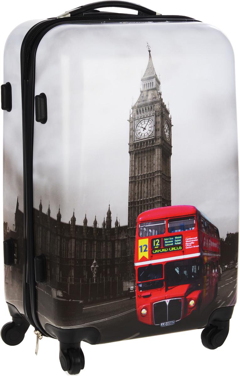Чемодан пластиковый Everluck Лондон, 64 лLQ151002 68 cmЧемодан Everluck Лондон, выполненный из прочного пластика, прекрасно подойдет для путешествий. Изделие имеет жесткую форму. Материал внутренней отделки - прочный полиэстер. Чемодан очень вместителен, он содержит продуманную внутреннюю организацию, которая позволяет удобно разложить вещи и избежать их сминания. Имеется одно большое отделение, закрывающееся по периметру на застежку-молнию с двумя бегунками. Большое отделение для хранения одежды оснащено перекрещивающимися багажными ремнями, которые соединяются при помощи пластикового карабина. Также внутри имеется 2 кармана на молнии и одно дополнительное небольшое отделение на молнии. Для удобной перевозки чемодан оснащен четырьмя маневренными колесами, которые обеспечивают легкость перемещения в любом направлении. Телескопическая ручка выдвигается нажатием на кнопку и фиксируется в двух положениях. Сверху и сбоку предусмотрена ручка для поднятия чемодана. Чемодан оснащен кодовым замком,...