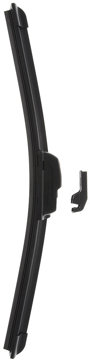 Щетка стеклоочистителя Wonderful, бескаркасная, с тефлоном, с 2 адаптерами, длина 35 см, 1 шт901889Бескаркасная универсальная щетка Wonderful, выполненная по современной технологии из высококачественных материалов, предназначена для установки на переднее стекло автомобиля. Направляющая шина, расположенная внутри чистящего полотна, равномерно распределяет прижимное усилие по всей длине, точно повторяя рельеф щетки, что обеспечивает наиболее полное очищение стекла за один проход. Отличается высоким качеством исполнения и оптимально подходит для замены оригинальных щеток, установленных на конвейере. Обеспечивает качественную очистку стекла в любую погоду. Изделие оснащено 2 адаптерами, которые превосходно подходят для наиболее распространенных типов креплений. Простой и быстрый монтаж.