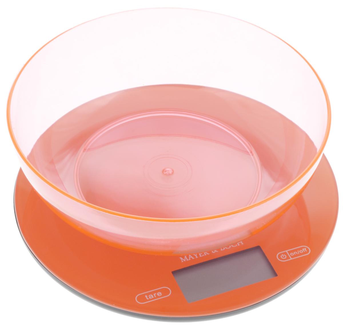 Весы кухонные Mayer & Bosh, с чашей, цвет: оранжевый, до 5 кг. 1095810958Кухонные весы Mayer & Boch изготовлены из высококачественного пластика. Изделие оснащено акриловой панелью и съемной чашей. Весы имеют цифровой LCD-дисплей с функцией автоматического отключения и тарокомпенсации, а также мощный процессор и тензометрический датчик высокой прочности. На корпусе расположены кнопки управления: кнопка включения/отключения и обнуления веса - On/Off и Tare. Кухонные весы Mayer & Boch пригодятся на любой кухне и станут прекрасным дополнением к набору вашей мелкой бытовой техники. Используя их, вы сможете готовить блюда, точно следуя предложенной рецептуре, что немаловажно при приготовлении сложных блюд, соусов и выпечки. Оригинальные, с ярким дизайном, такие весы украсят любую кухню и принесут радость каждой хозяйке. Нагрузка: 2 - 5000 г. Питание: ААА х 2 (входят в комплект). Размер весов: 20 х 20 х 1,5 см. Размер чаши: 19 х 19 х 6 см.