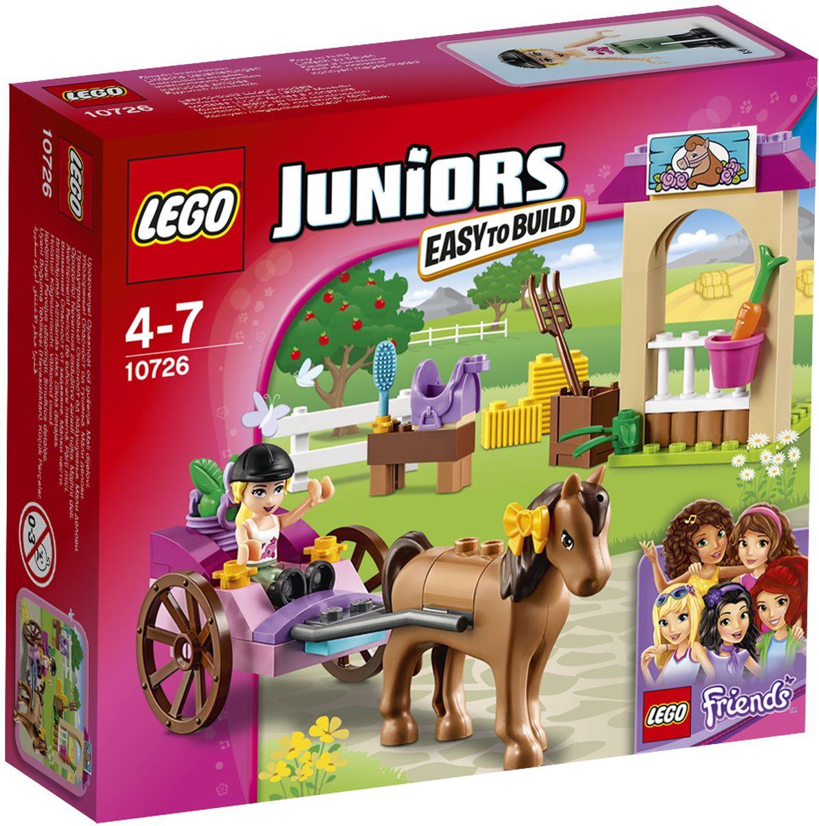 LEGO Juniors Конструктор Карета Стефани 1072610726Составьте Стефани из LEGO Friends и ее лошадке Шоколадке компанию в забавных путешествиях! Помогите Стефани запрячь свою любимицу в повозку, отправляйтесь в сад и соберите целую корзину яблок. Когда вернетесь, отведите Шоколадку в конюшню и покормите ее. Не забудьте хорошенько почистить ее щеткой, вплетите бант в гриву и сгребите рассыпанное сено. Потом оседлайте лошадку и отправляйтесь на увлекательную прогулку по Хартлейк-Сити вместе со своими друзьями! Набор включает в себя 58 разноцветных пластиковых элементов. Конструктор - это один из самых увлекательных и веселых способов времяпрепровождения. Ребенок сможет часами играть с конструктором, придумывая различные ситуации и истории.