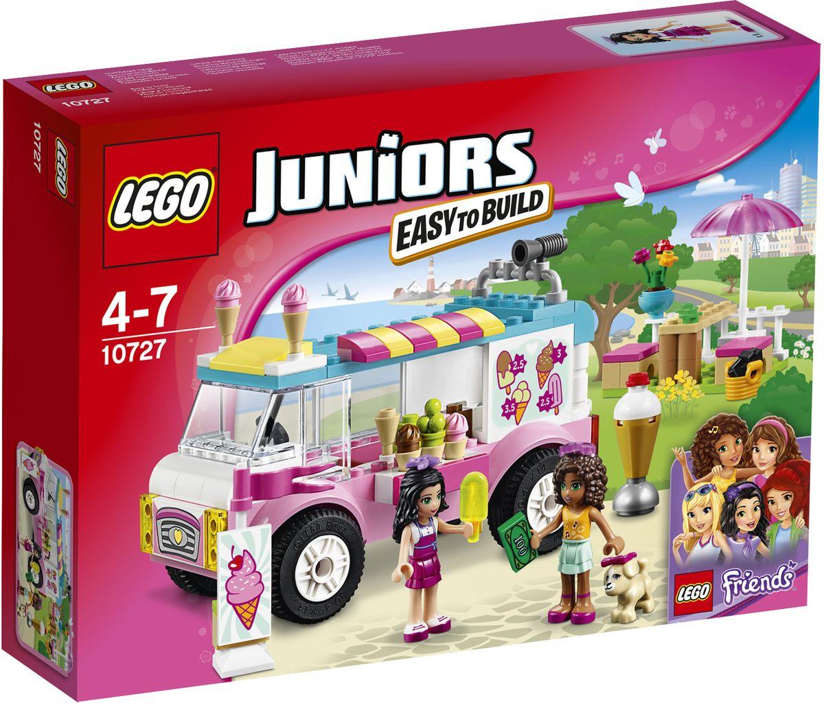 LEGO Juniors Конструктор Грузовик с мороженым Эммы 1072710727Вместе с Андреа отправляйтесь к тележке с мороженым Эммы, чтобы сделать этот солнечный денек прохладнее. Займите место за столиком и поболтайте с подружками, прежде чем отправиться обратно на пляж. Помогите Эмме убрать мусор и приготовиться к приходу новых покупателей. Лето - прекрасное время для прогулок с друзьями! Набор включает в себя 136 разноцветных пластиковых элементов. Конструктор - это один из самых увлекательных и веселых способов времяпрепровождения. Ребенок сможет часами играть с конструктором, придумывая различные ситуации и истории.