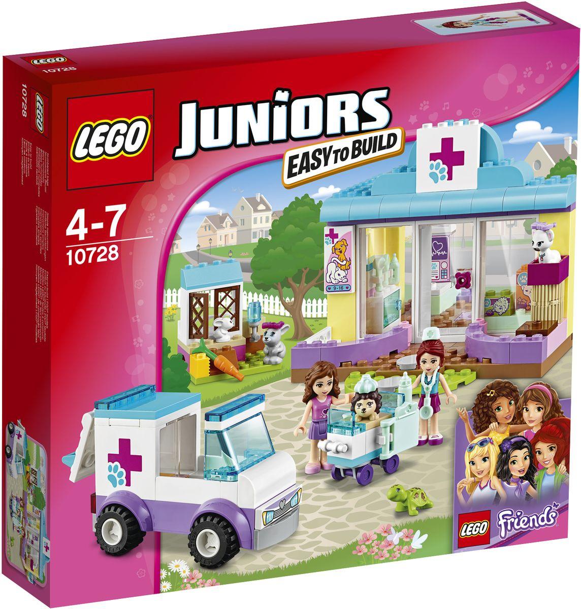 LEGO Juniors Конструктор Ветеринарная клиника Мии 1072810728Помогайте Оливии и Мии лечить заболевших животных в ветеринарной клинике LEGO Juniors! Вместе с Мией откройте клинику и приготовьтесь к дневному приему пациентов. Расскажите Оливии о животном, которое должна забрать машина скорой помощи, а, когда она подъедет, выйдите, чтобы ее встретить. Принесите животное в клинику, чтобы Мия могла начать его лечить. Помогите разместить животных, оставшихся в клинике до выздоровления. Набор включает в себя 173 разноцветных пластиковых элемента. Конструктор - это один из самых увлекательных и веселых способов времяпрепровождения. Ребенок сможет часами играть с конструктором, придумывая различные ситуации и истории.