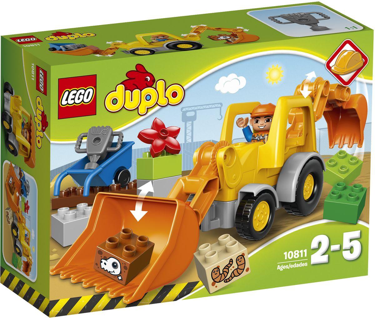 LEGO DUPLO Конструктор Экскаватор-погрузчик 1081110811Маленьким строителям наверняка захочется узнать, что можно выкопать с помощью этой простой в сборке машины. В машине спереди и сзади располагаются большие ковши, чтобы сделать игру более интересной. Подвижные детали можно перемещать и объединять, чтобы копать и разбирать кубики, декорированные черепами и червями. Кубики DUPLO разработаны с учетом требований к обеспечению безопасности детей. В набор входит фигурка строительного рабочего DUPLO. Набор включает в себя 19 разноцветных пластиковых элементов. Конструктор - это один из самых увлекательных и веселых способов времяпрепровождения. Ребенок сможет часами играть с конструктором, придумывая различные ситуации и истории.