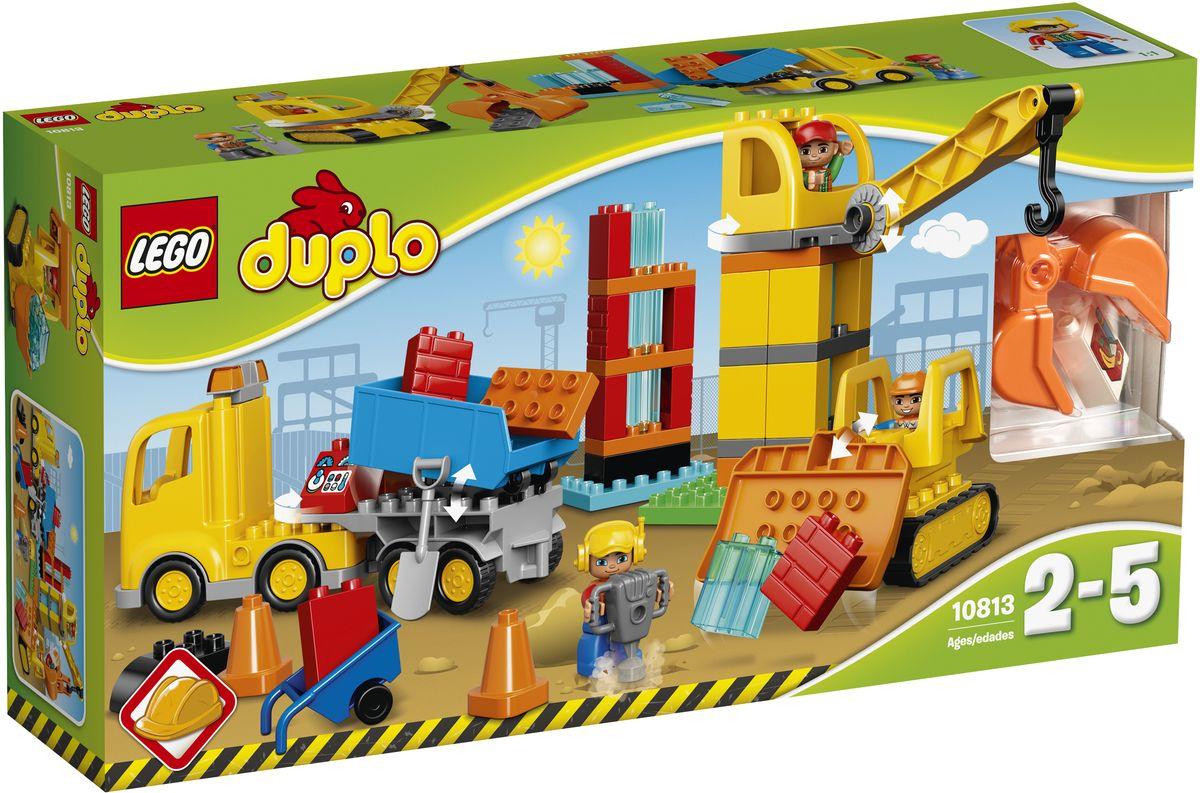 LEGO DUPLO Конструктор Большая стройплощадка 1081310813Маленьким строителям понравятся все три сборные машины. Очистите гусеничным бульдозером участок для размещения новых строительных материалов, которые доставил грузовик. Затем используйте кран с захватом, чтобы поднимать кубики и построить здание. Кубики DUPLO разработаны с учетом требований к обеспечению безопасности детей. В набор входят три фигурки строительных рабочих DUPLO, чтобы набор мог стать основой для множества ролевых игр. Набор включает в себя 67 разноцветных пластиковых элементов. Конструктор - это один из самых увлекательных и веселых способов времяпрепровождения. Ребенок сможет часами играть с конструктором, придумывая различные ситуации и истории.
