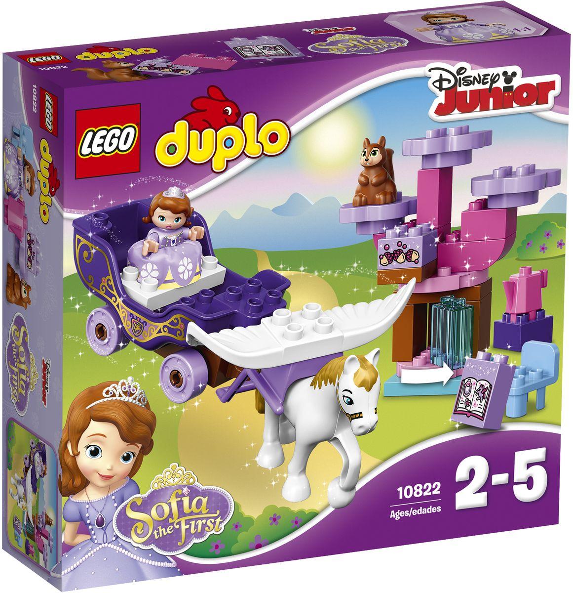 LEGO DUPLO Конструктор Волшебная карета Софии Прекрасной 1082210822Поклонники Софии Прекрасной из Disney Junior с удовольствием отправятся участвовать в настоящих приключениях в волшебной карете Софии, запряженной ее летающим конем, Великим Минимусом. Участвуйте в лесном чаепитии вместе с белкой Орешек, устроенном неподалеку от ее вращающегося дерева, и помогите Софии найти волшебную книгу, спрятанную в тайной библиотеке. В набор входят фигурки LEGO DUPLO: София, Минимус Великий и белка Орешек. Набор включает в себя 30 разноцветных пластиковых элементов. Конструктор - это один из самых увлекательных и веселых способов времяпрепровождения. Ребенок сможет часами играть с конструктором, придумывая различные ситуации и истории.