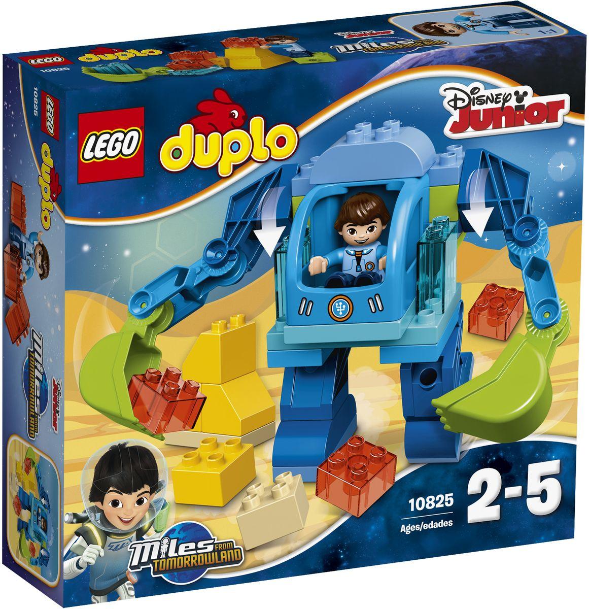 LEGO DUPLO Конструктор Экзокостюм Майлза 1082510825Поклонникам мультфильма Майлз с другой планеты из набора Disney Junior понравится Майлз, сидящий в кабине своего невероятного роботизированного костюма и готовый исследовать новые планеты. Помогите Майлзу использовать большие руки-лопаты подвижного экзокостюма, чтобы выкапывать и изучать космические камни. Маленькие дети могут также создавать из кубиков своих собственных роботов и отправлять их на поиски необыкновенных приключений. В набор входит фигурка Майлза. Конструктор LEGO DUPLO. Экзокостюм Майлза включает в себя 37 разноцветных пластиковых элементов. Конструктор станет замечательным сюрпризом вашему ребенку, который будет способствовать развитию мелкой моторики рук, внимательности, усидчивости и мышления. Играя с конструктором, ребенок научится собирать детали по образцу, проводить время с пользой и удовольствием.