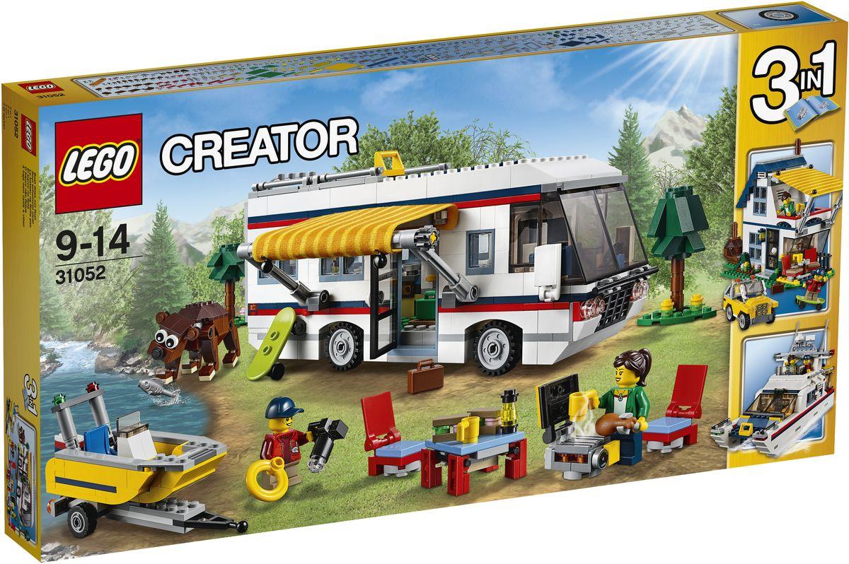 LEGO Creator Конструктор Кемпинг 3105231052Наслаждайтесь приключениями, путешествуя с этим удивительным конструктором LEGO Creator. Кемпинг, включающим в себя удивительный домик на колесах, в котором есть все необходимое для идеального отдыха, в том числе роскошный интерьер с туалетом, складной кроватью, кухней, диваном и телевизором. Снимите раскладывающиеся стол и стулья с крыши домика на колесах, установите тент и наслаждайтесь отличным барбекю. Затем возьмите моторную лодку для прогулки, попробуйте отыскать медведя или изучите карту и планируйте свою следующую поездку в прекрасном домике на колесах! Перестройте его в летний дом или яхту. Набор включает в себя 792 разноцветных пластиковых элемента. Конструктор - это один из самых увлекательных и веселых способов времяпрепровождения. Ребенок сможет часами играть с конструктором, придумывая различные ситуации и истории.
