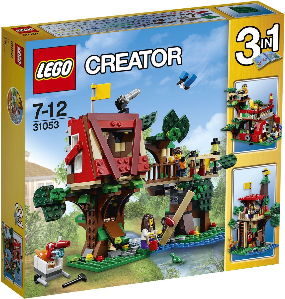 LEGO Creator Конструктор Домик на дереве 3105331053Наслаждайтесь захватывающими приключениями с этим красочным конструктором LEGO Creator. Домик на дереве. Помогите детям построить домик на дереве. Опустите шкив, чтобы сразу поднять доски, возьмите молоток и гвозди, чтобы сбить их вместе, и валик с краской, чтобы добавить последние штрихи. Когда закончите строительство, положите инструменты в потайной шкаф и поднимите флаг в домике на дереве! Используйте водяной пистолет, чтобы отогнать захватчиков. Наблюдайте за крошечной голубой сойкой и лягушкой, живущих по соседству. Перестройте домик в классный клубный домик или удивительный форт. Набор включает в себя 387 разноцветных пластиковых элементов. Конструктор станет замечательным сюрпризом вашему ребенку, который будет способствовать развитию мелкой моторики рук, внимательности, усидчивости и мышления. Играя с конструктором, ребенок научится собирать детали по образцу, проводить время с пользой и удовольствием.