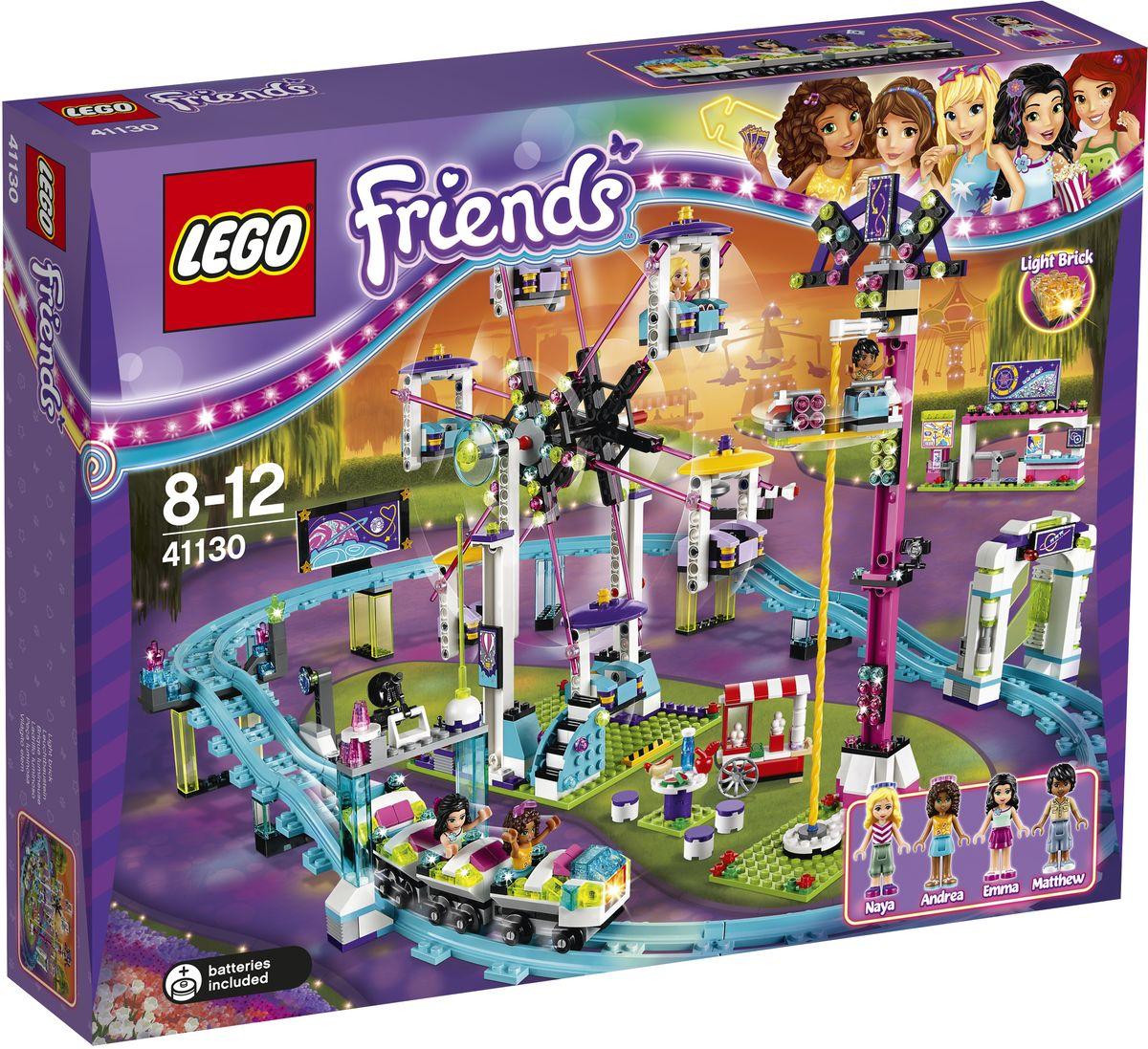 LEGO Friends Конструктор Парк развлечений Американские горки 4113041130Пройдите через турникеты в парке развлечений и встаньте в очередь на американские горки. Садитесь на переднее сиденье, чтобы включить светящийся кубик, и вперед! Затем медленно прокатитесь на колесе обозрения или отправляйтесь на аттракцион Свободное падение, опустите защитную дугу и, вращаясь, спускайтесь на землю. А затем вместе с друзьями можно купить фотографии и перекусить. Вы не захотите, чтобы день в парке развлечений заканчивался! Набор включает в себя 1124 разноцветных пластиковых элемента. Конструктор - это один из самых увлекательных и веселых способов времяпрепровождения. Ребенок сможет часами играть с конструктором, придумывая различные ситуации и истории. Рекомендуется докупить 2 батарейки напряжением 1,5V типа LR41 (товар комплектуется демонстрационными).