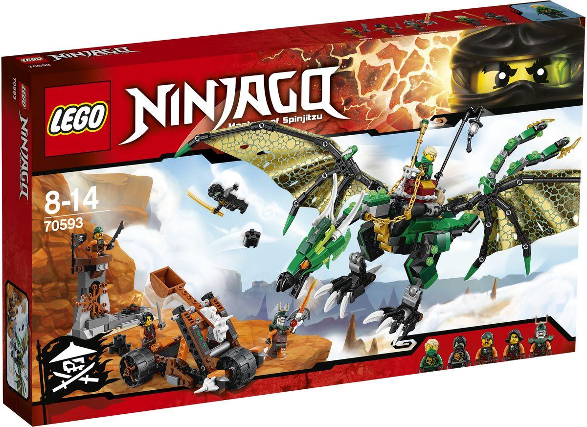 LEGO NINJAGO Конструктор Зеленый Дракон 7059370593Поместите Зеленого ниндзя Ллойда в седло, хватайте поводья-цепи и взлетайте в воздух. Расправьте огромные крылья Зеленого дракона, чтобы взлететь ввысь, и атакуйте смотровую башню небесных пиратов, используя его ужасную пасть и грозные когти. Уклоняйтесь от выстрелов из мобильной катапульты пиратов и отстреливайтесь из шипованных шутеров на хвосте дракона. Объединитесь с Призрачным Коулом для победы над Дублоном и членами его экипажа и верните Клинок джиннов! Конструктор LEGO NINJAGO. Зеленый Дракон включает в себя 567 разноцветных пластиковых элементов. Конструктор - это один из самых увлекательных и веселых способов времяпрепровождения. Ребенок сможет часами играть с конструктором, придумывая различные ситуации и истории.