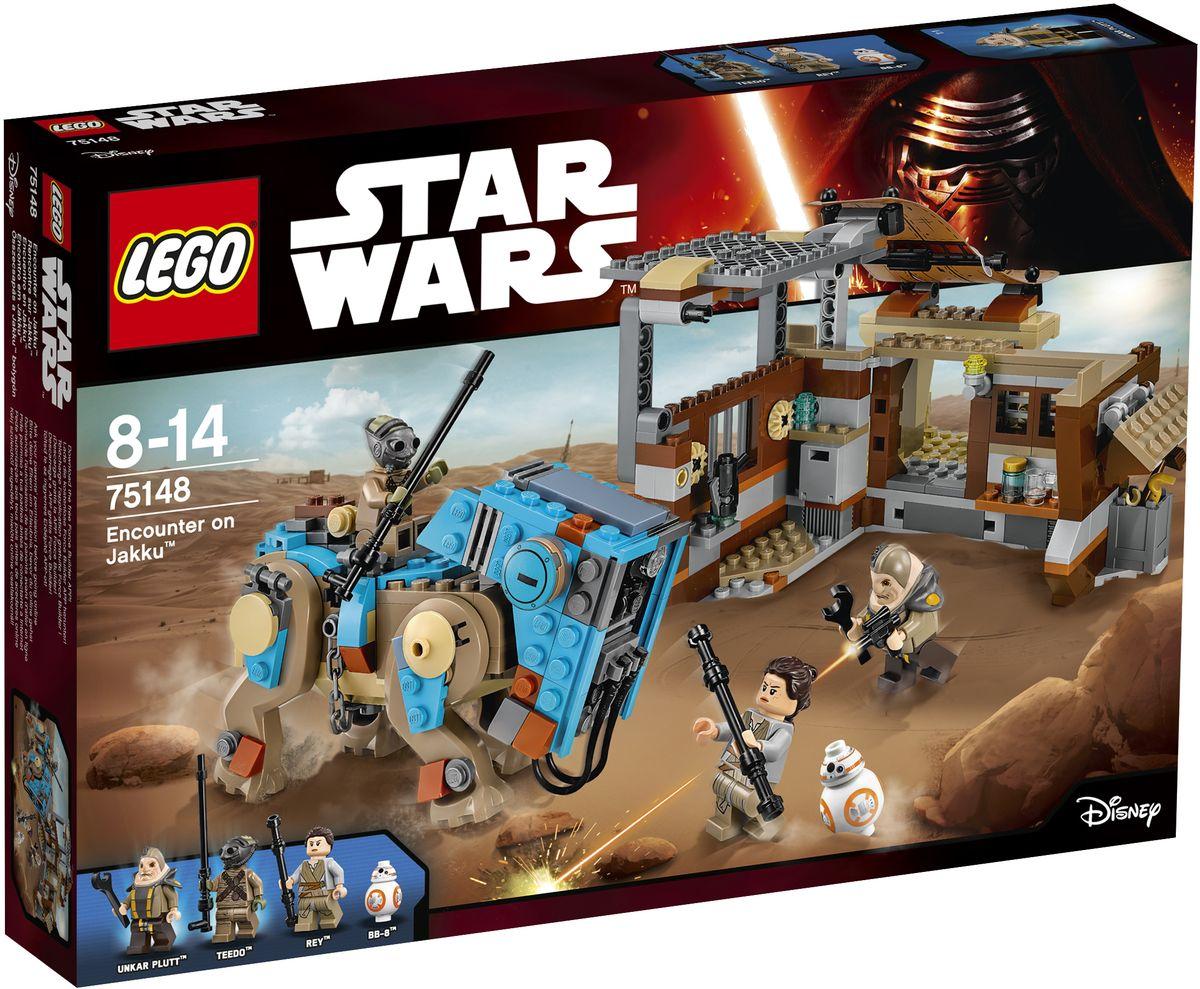 LEGO Star Wars Конструктор Столкновение на Джакку 7514875148Присоединяйтесь к Рэй и ее дроиду BB-8, которые продают Ункару Платту старые запчасти на рынке. Но берегитесь! Тидо на своем Лаагабисте пытается похитить BB-8! Сможете ли вы помочь Рэй в ее спасательной операции и остановить этого маленького вора? Это предстоит решить вам самим... Набор включает в себя 530 разноцветных пластиковых элементов. Конструктор - это один из самых увлекательных и веселых способов времяпрепровождения. Ребенок сможет часами играть с конструктором, придумывая различные ситуации и истории.