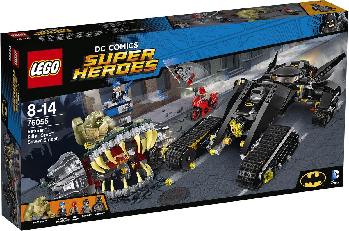 LEGO Super Heroes Конструктор Бэтмен Убийца Крок 7605576055Подкрепление прибыло! Помогите Красной Шапочке и Катане остановить смертоносного убийцу Крока и злого Капитана Бумеранга и не дать им разрушить Готэм-Сити. Сразитесь со злодеем! Разрушьте тяжелый бронированный автомобиль с помощью мощного орудия Бэттанка, но защищайтесь от ударов мощного хвоста или гигантских челюстей. Уничтожьте врагов вместе с командой супергероев и навсегда остановите злодеев! Набор включает в себя 759 разноцветных пластиковых элементов. Конструктор - это один из самых увлекательных и веселых способов времяпрепровождения. Ребенок сможет часами играть с конструктором, придумывая различные ситуации и истории.