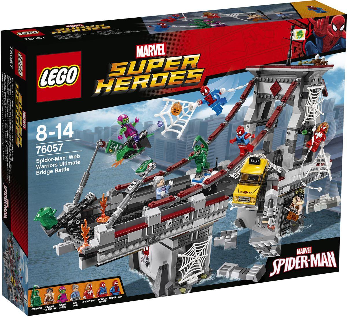 LEGO Super Heroes Конструктор Человек-паук Последний бой воинов паутины 7605776057Мост атакован! Объедините Человека-паука, девушку-паука и алого паука, чтобы победить Зеленого Гоблина. Но остерегайтесь Крэйвена-охотника, выползающего из своего тайного логова, и следите за ядовитым хвостом Скорпиона. Спасите такси, используя паутину прежде, чем проезжая часть погрузится в воду, и защитите тетю Мэй от пылающей тыквенной бомбы Зеленого Гоблина, а затем посадите всех злодеев в паутинную тюрьму! Набор включает в себя 1092 разноцветных пластиковых элемента. Конструктор - это один из самых увлекательных и веселых способов времяпрепровождения. Ребенок сможет часами играть с конструктором, придумывая различные ситуации и истории.
