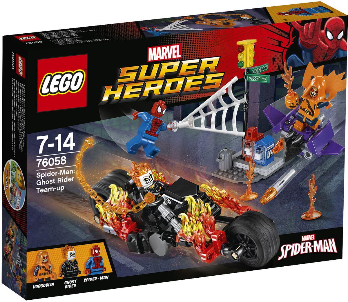 LEGO Super Heroes Конструктор Человек-паук Союз с Призрачным гонщиком 7605876058Хобгоблин вызывает хаос в городе своим гоблин-глайдером и пламенной тыквенной бомбой, так что отправляйте Человека-паука и Призрачного гонщика в бой на улице! Оседлайте байк Призрачного гонщика на полном ходу и используйте его огненную цепь, чтобы остановить демона. Затем сбросьте Хобгоблина с верхушки светофора с помощью суперджампера Человека-паука! Набор включает в себя 217 разноцветных пластиковых элементов. Конструктор - это один из самых увлекательных и веселых способов времяпрепровождения. Ребенок сможет часами играть с конструктором, придумывая различные ситуации и истории.