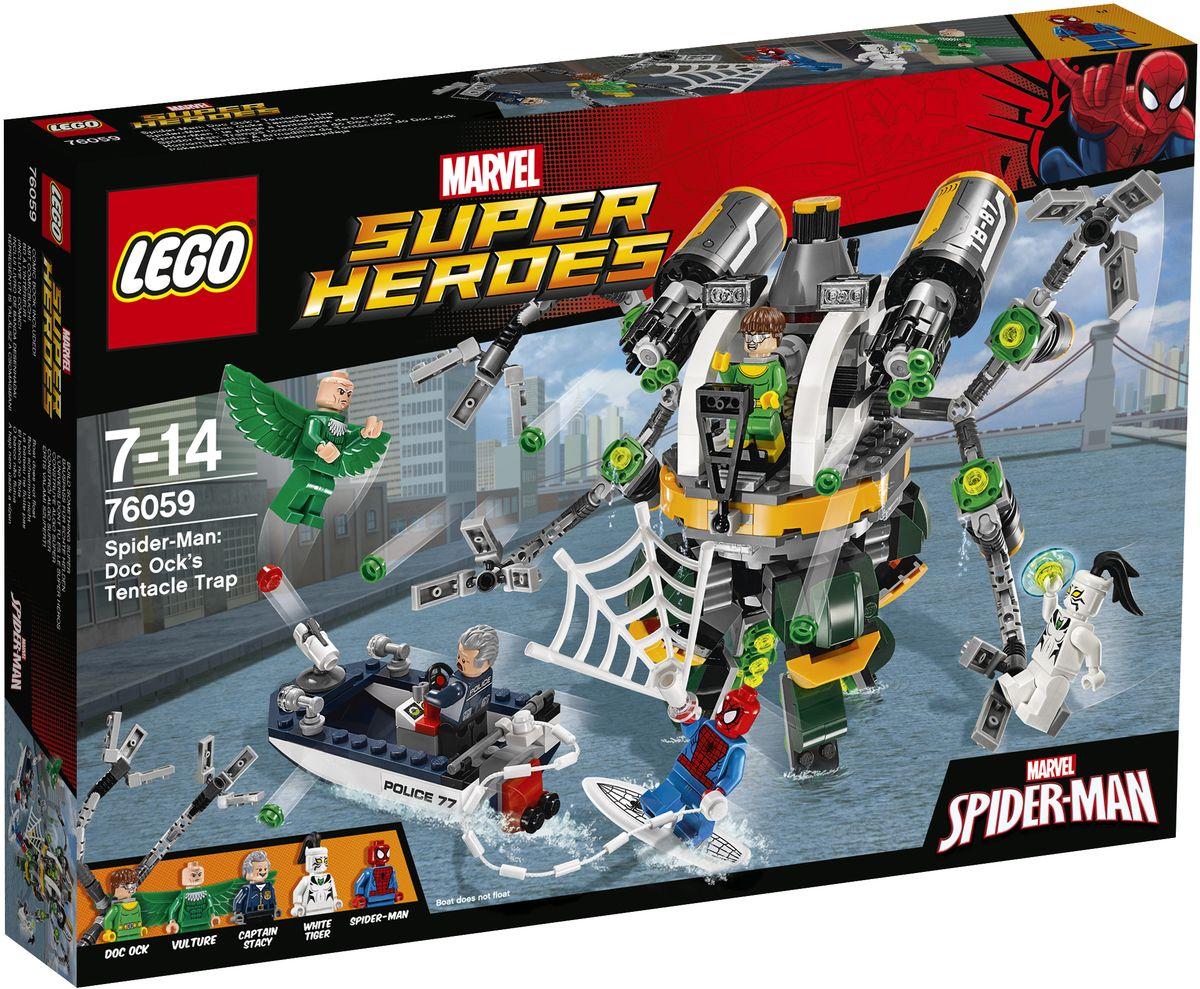 LEGO Super Heroes Конструктор Человек-паук В ловушке Доктора Осьминога 7605976059Доктор Осьминог захватил Белого тигра в плен и пробирается под водой к своему вооруженному до зубов Октоботу! Возьмите катер капитана Стейси и вместе с Человеком-пауком на паутинной доске для серфинга летите вперед! Следите за Грифом, пикирующим сверху, парируйте его атаки и произведите фурор в городе, организовав героическое спасение. Набор включает в себя 446 разноцветных пластиковых элементов. Конструктор - это один из самых увлекательных и веселых способов времяпрепровождения. Ребенок сможет часами играть с конструктором, придумывая различные ситуации и истории.