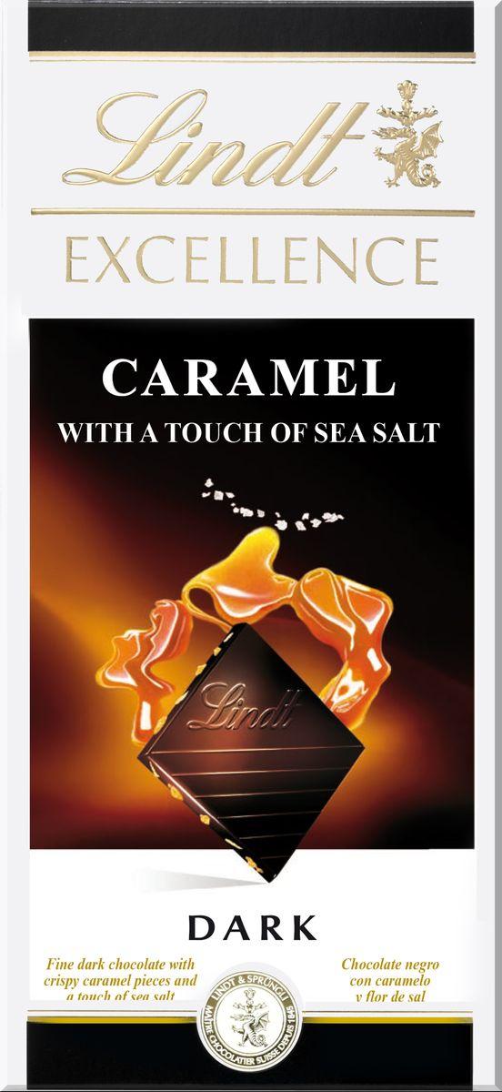 Lindt Excellence темный шоколад с карамелью и морской солью, 100 г ( 3046920027281 )
